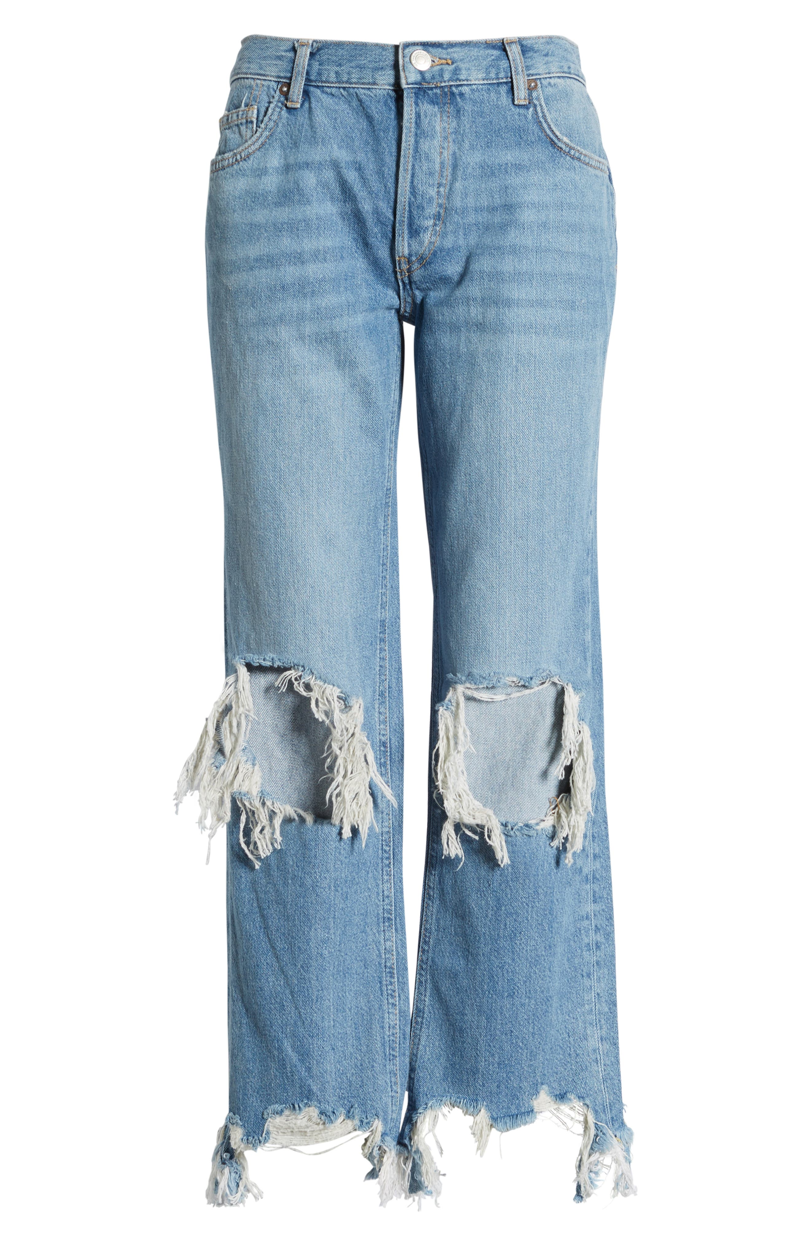 FREE PEOPLE, We the Free by Free People Maggie Ripped Crop Straight Leg Jeans, Alternate thumbnail 7, color, 456