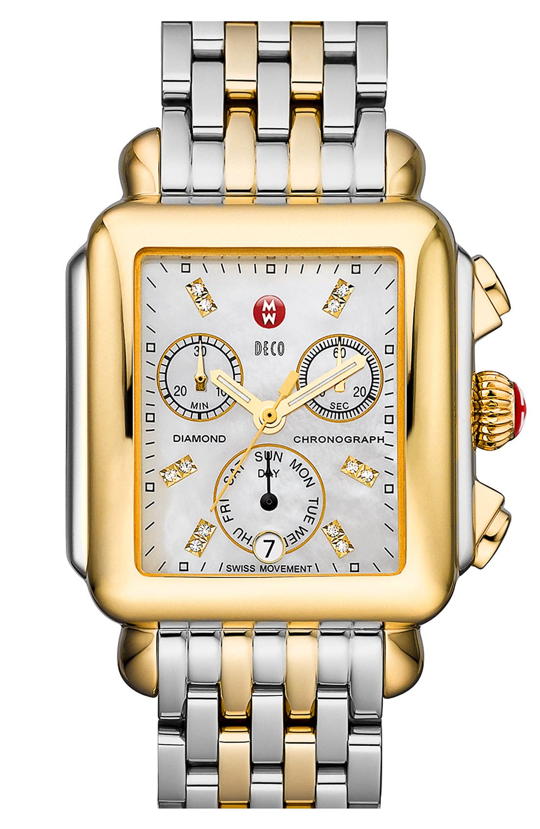 MICHELE, Deco Diamond Dial Two-Tone Watch Head, 33mm x 35mm, Alternate thumbnail 2, color, GOLD/ SILVER