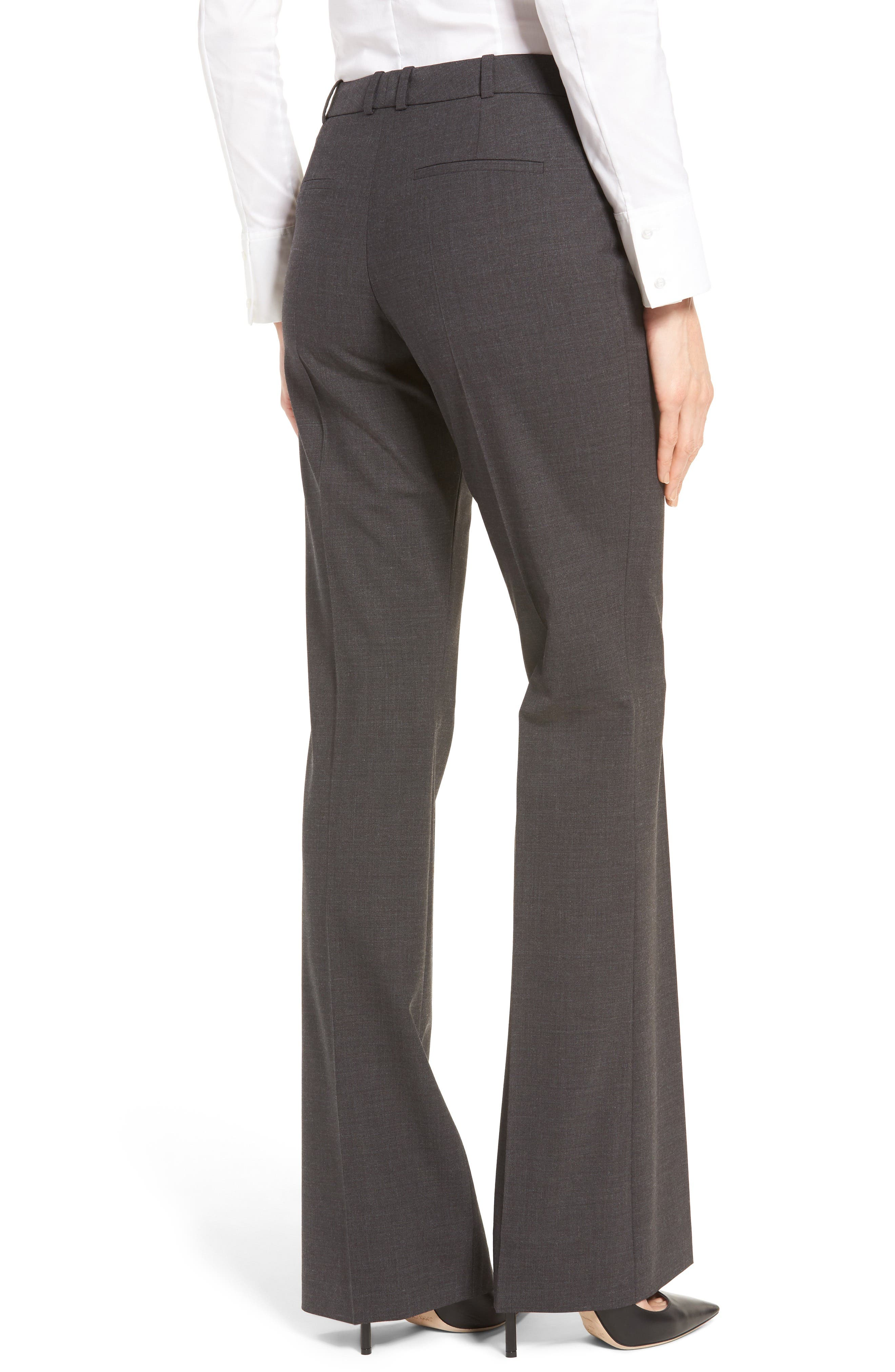 BOSS, Tulea3 Tropical Stretch Wool Trousers, Alternate thumbnail 2, color, CHARCOAL