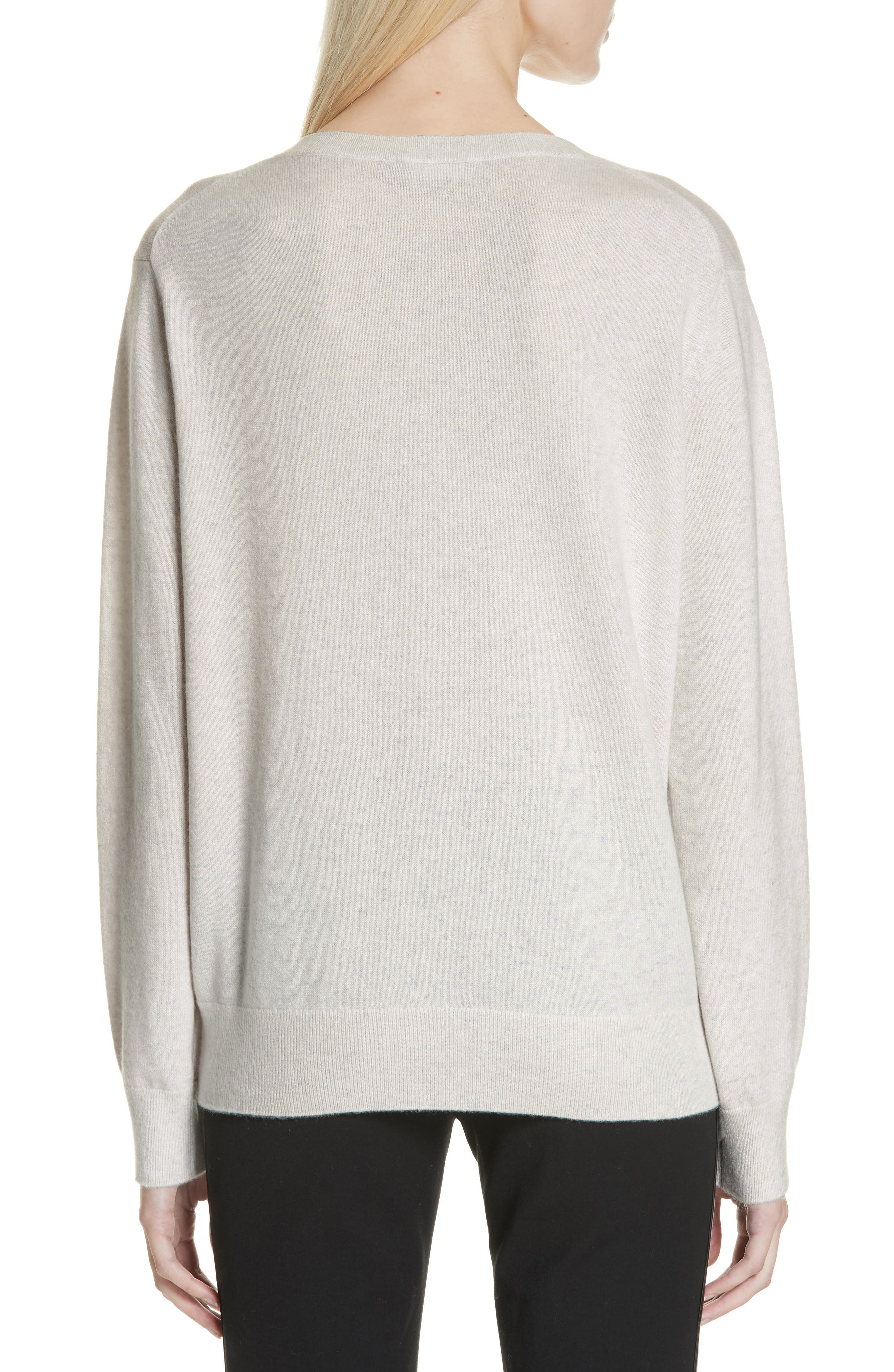 VINCE, Weekend V-Neck Cashmere Sweater, Alternate thumbnail 2, color, HEATHER WHITE