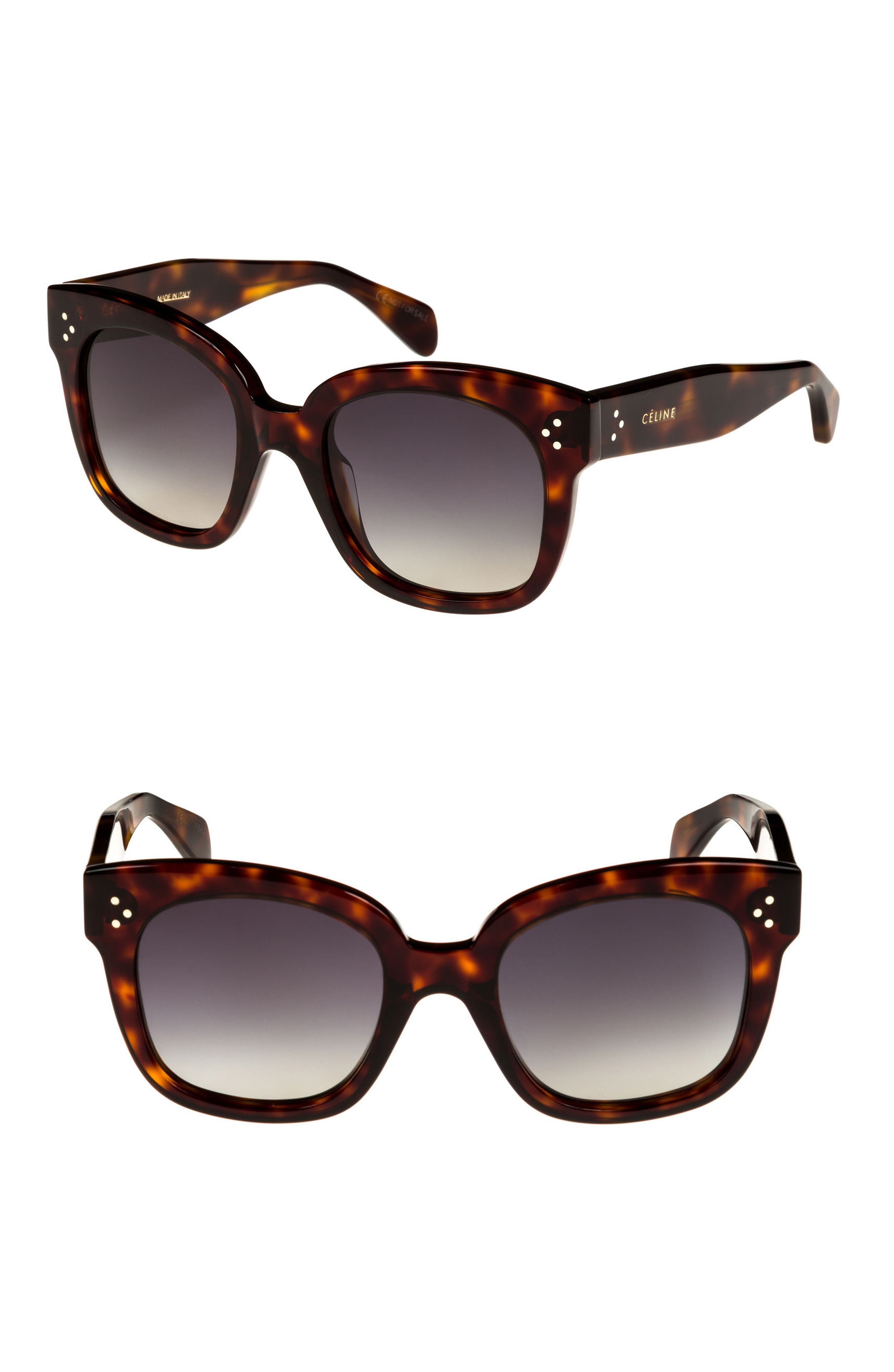 CELINE, 54mm Square Sunglasses, Alternate thumbnail 2, color, RED HAVAN/ SMOKE