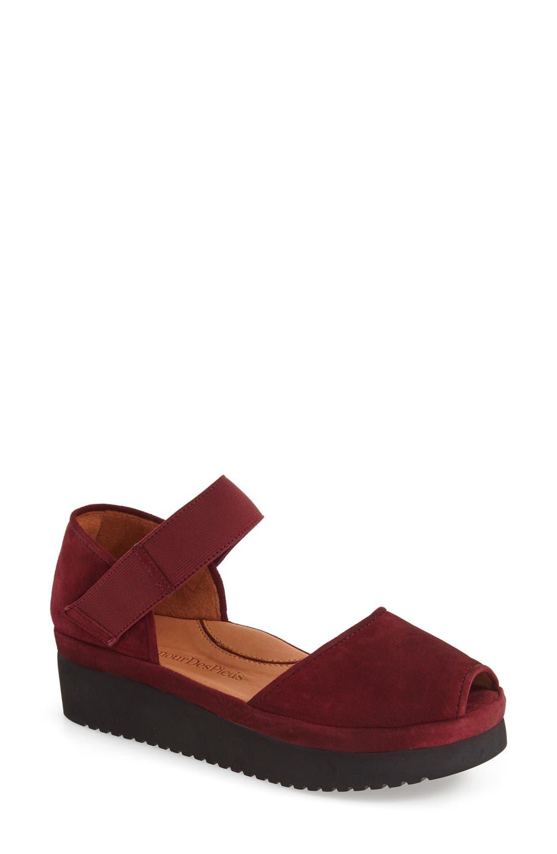 L'AMOUR DES PIEDS, 'Amadour' Platform Sandal, Main thumbnail 1, color, MULBERRY SUEDE LEATHER