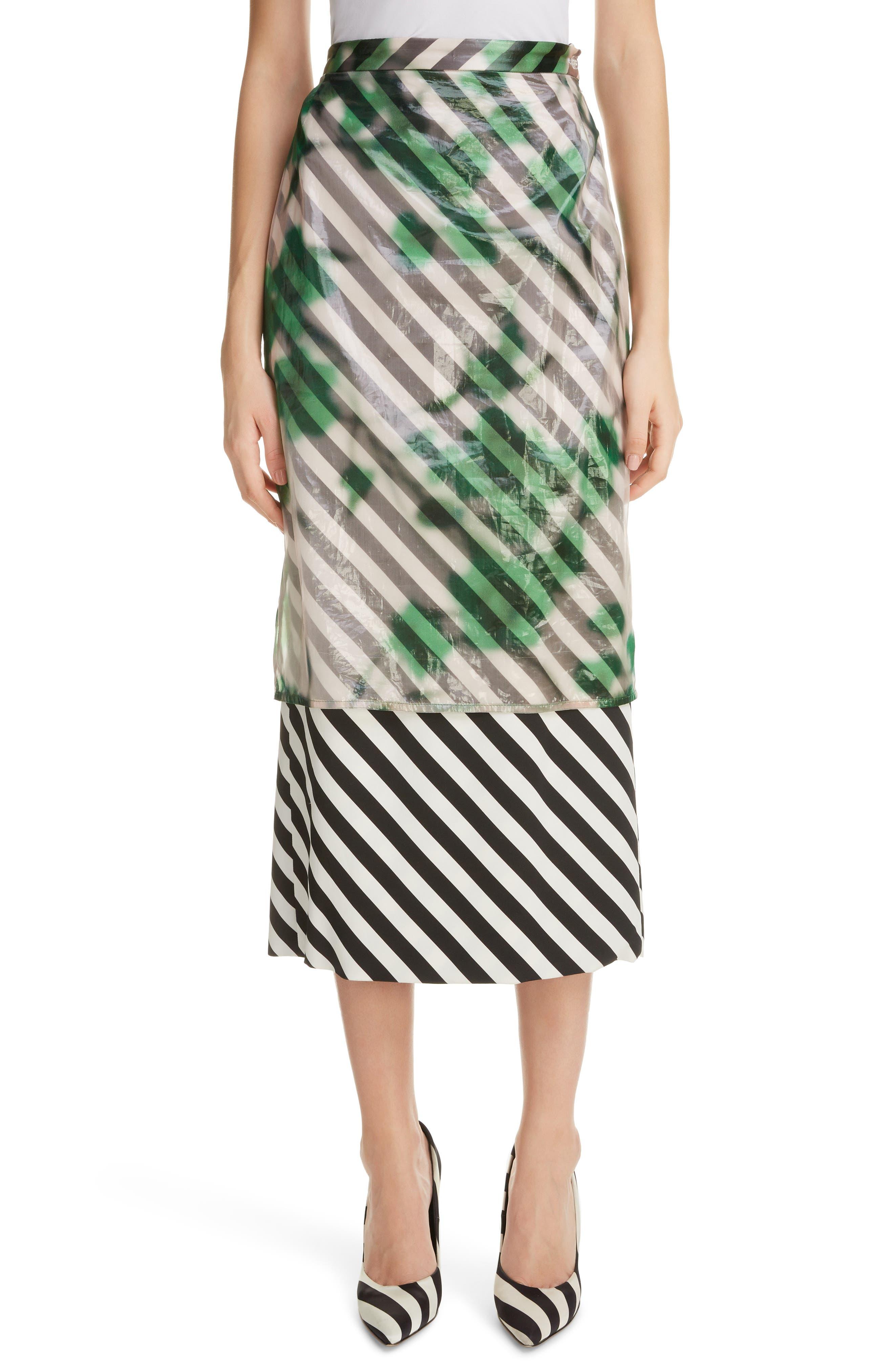DRIES VAN NOTEN, Dires Van Noten Painted Overlay Silk Blend Pencil Skirt, Main thumbnail 1, color, 604-GREEN