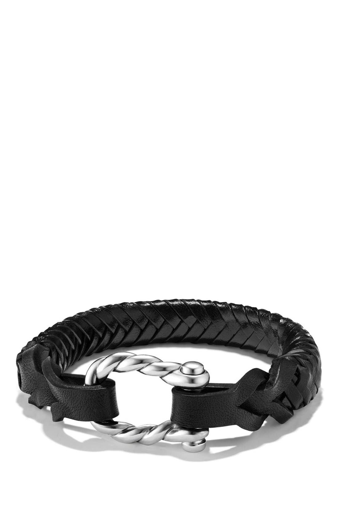 DAVID YURMAN, 'Maritime' Leather Woven Shackle Bracelet, Main thumbnail 1, color, SILVER/ BLACK