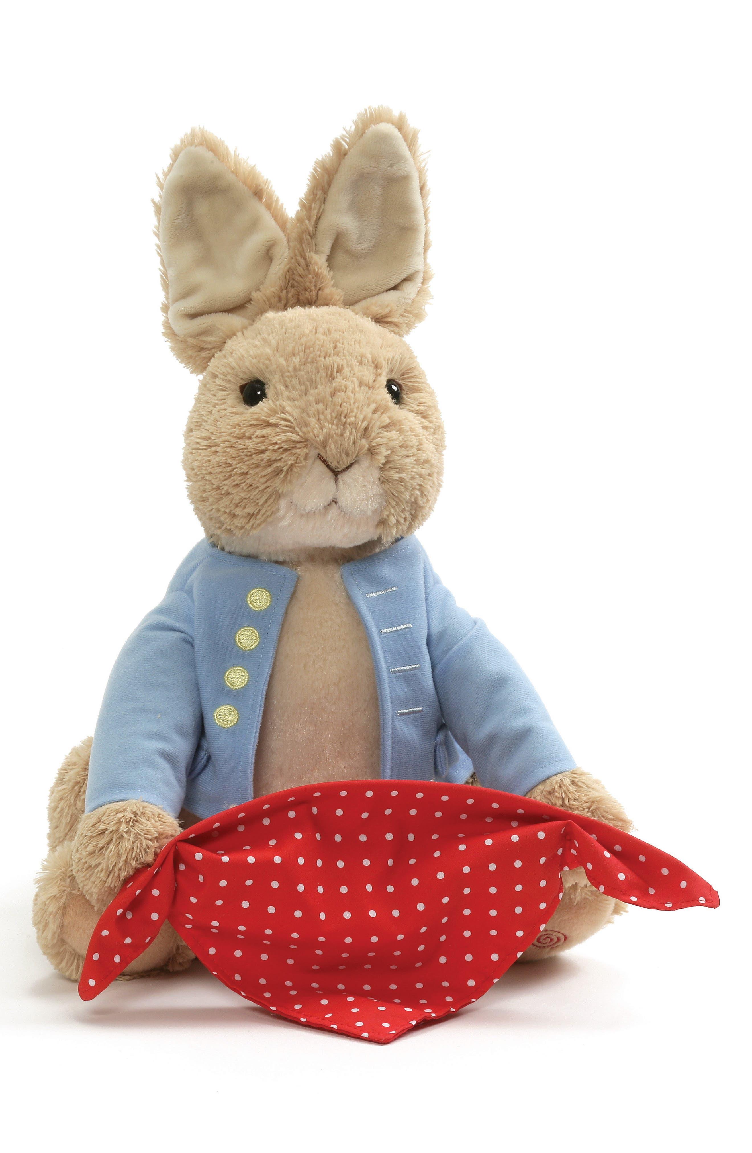 GUND, Peter Rabbit Sound & Action Peekaboo Stuffed Animal, Main thumbnail 1, color, TAN