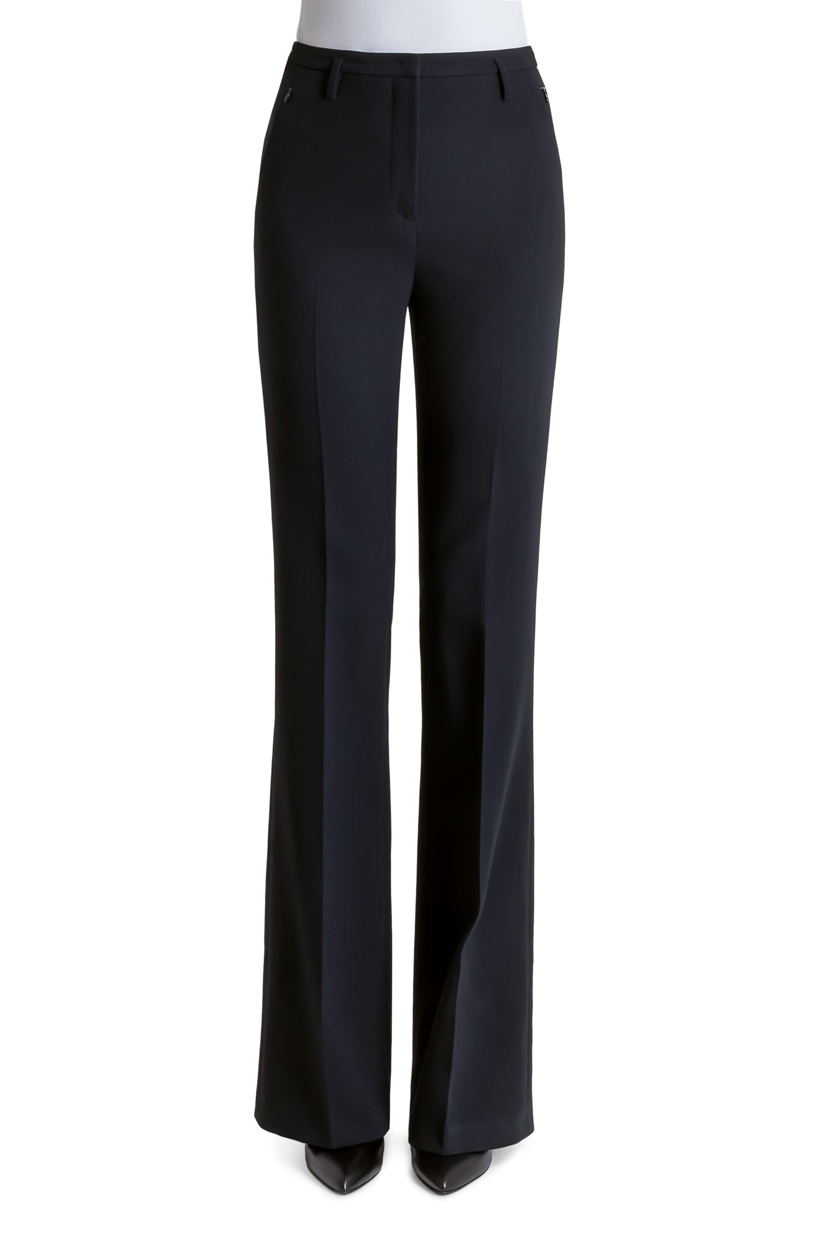 AKRIS, Farrah Stretch Wool Flare Pants, Alternate thumbnail 8, color, BLACK