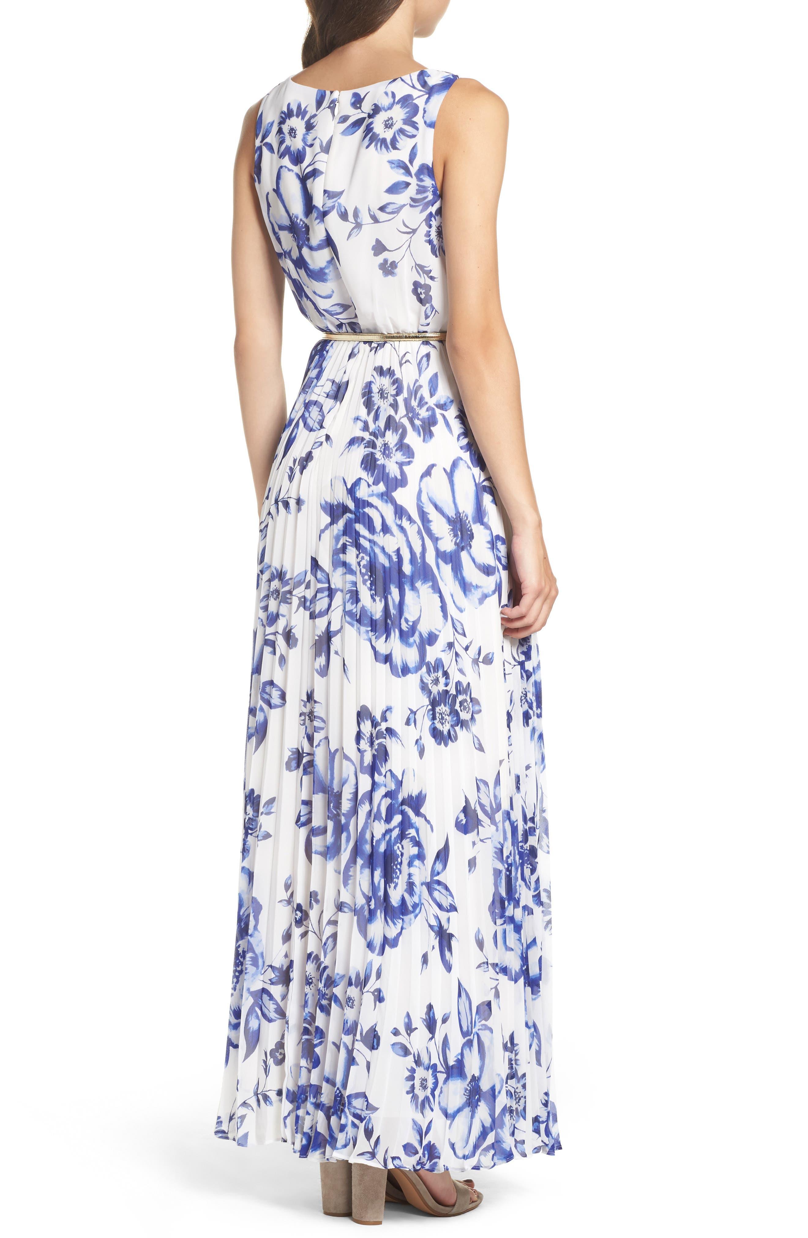ELIZA J, Pleated Floral Chiffon Maxi Dress, Alternate thumbnail 2, color, COBALT