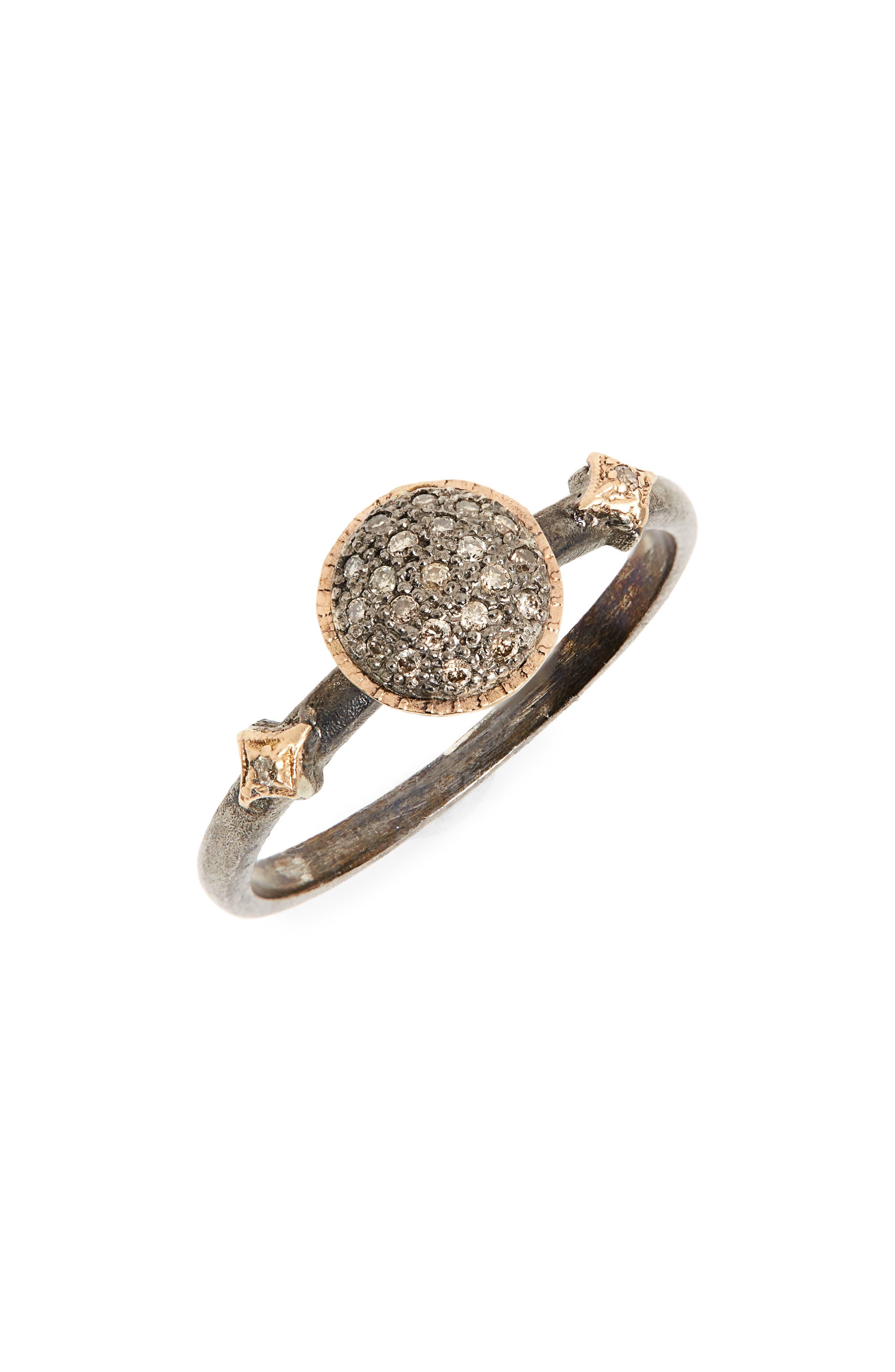 ARMENTA New World Pavé Diamond Circle Ring, Main, color, BLACKENED SILVER/ GOLD