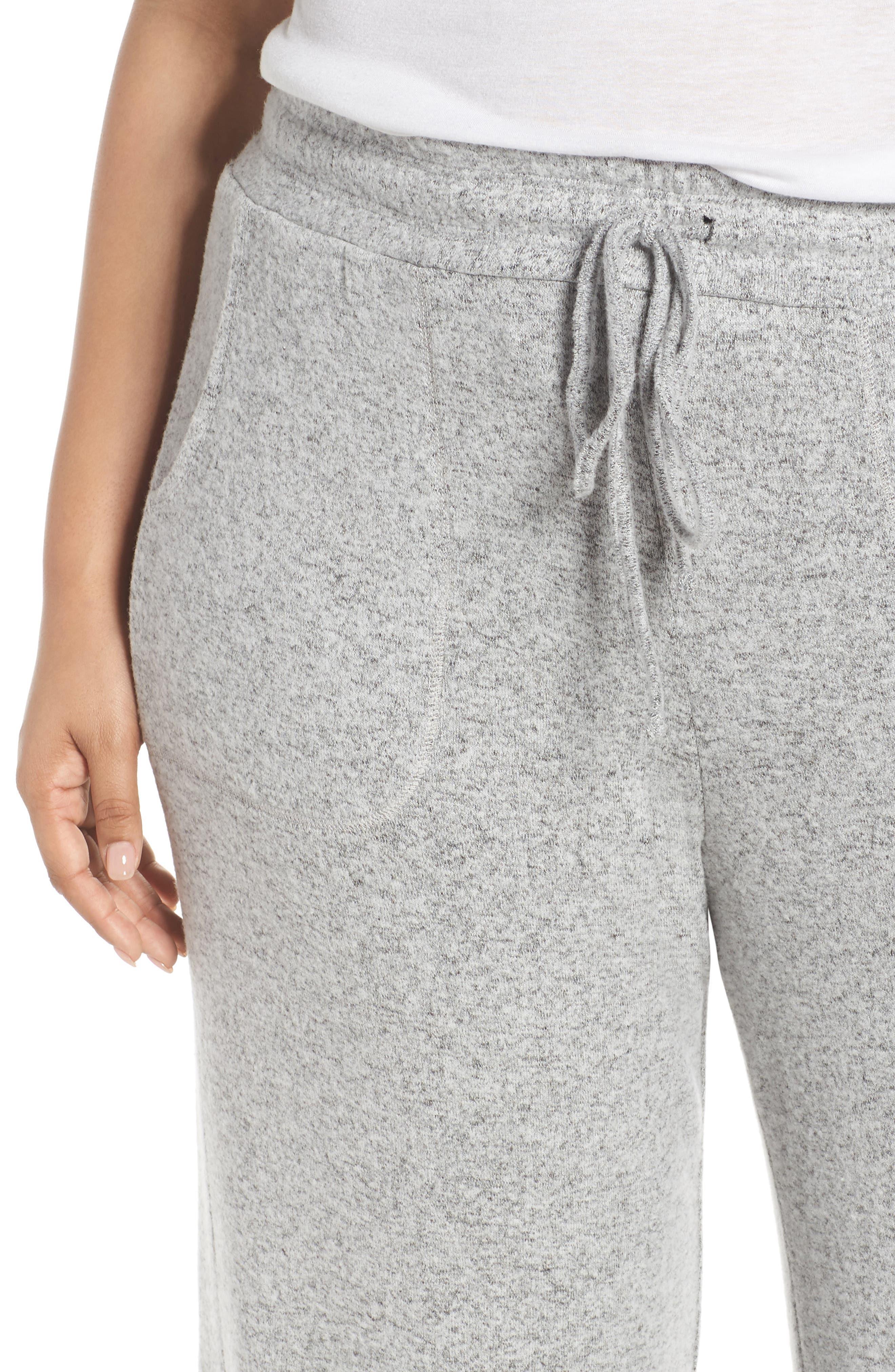 LEMON TART, Norah Knit Lounge Pants, Alternate thumbnail 5, color, HEATHER GREY