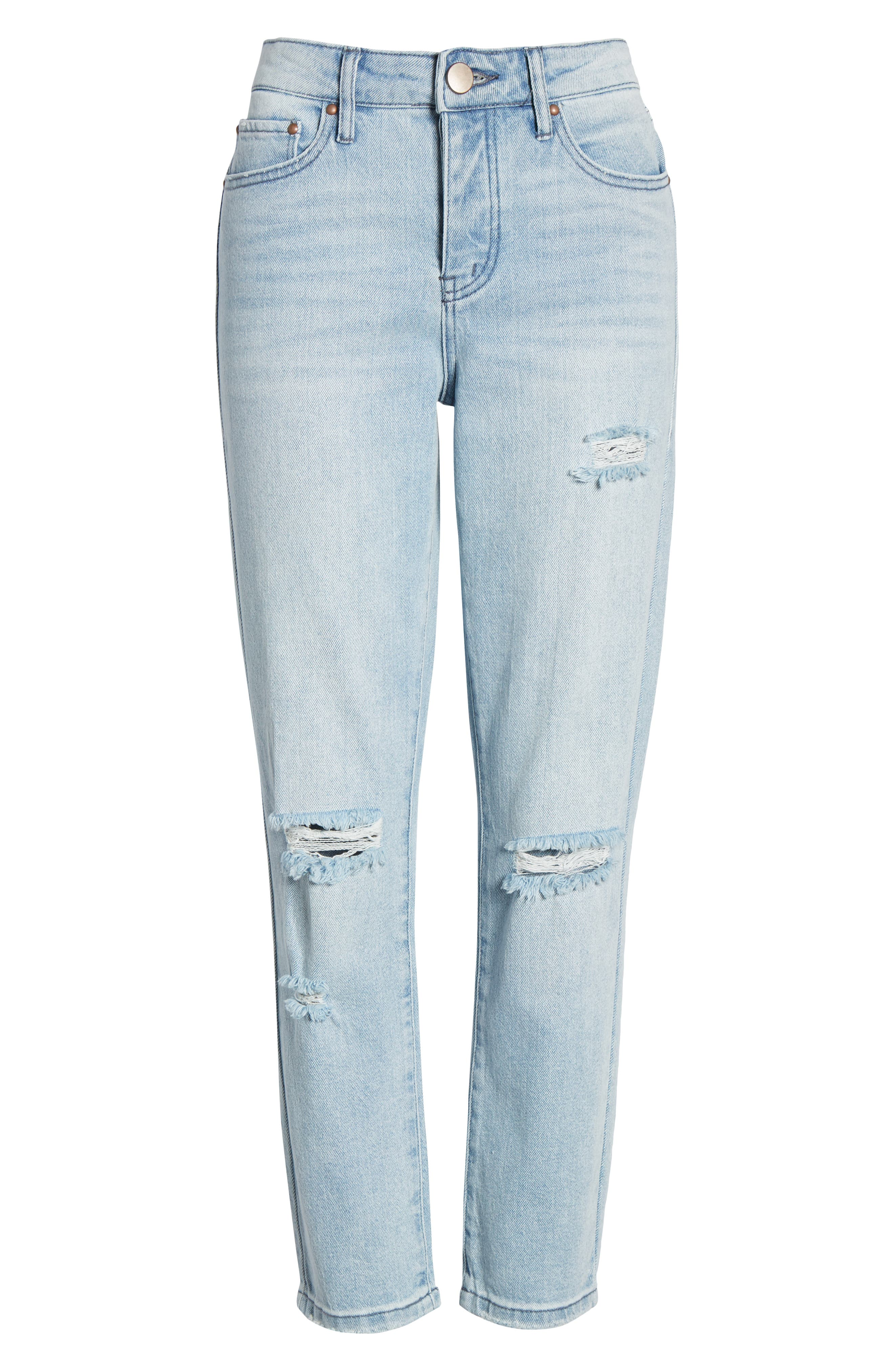 PROSPERITY DENIM, Ripped Ankle Straight Leg Jeans, Alternate thumbnail 7, color, LIGHT WASH