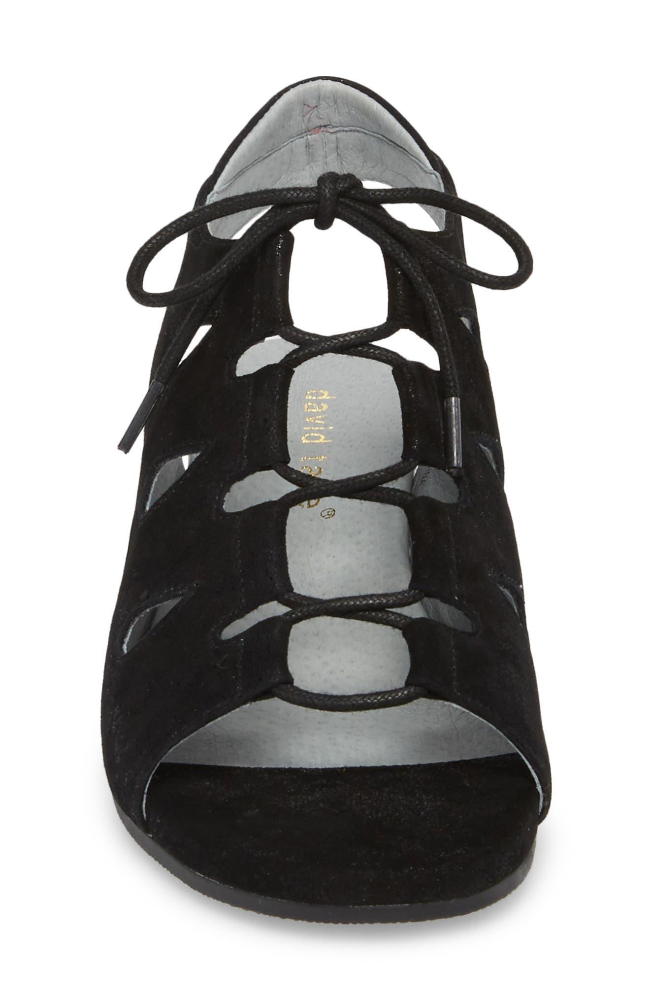 DAVID TATE, Rich Wedge Sandal, Alternate thumbnail 4, color, BLACK SUEDE