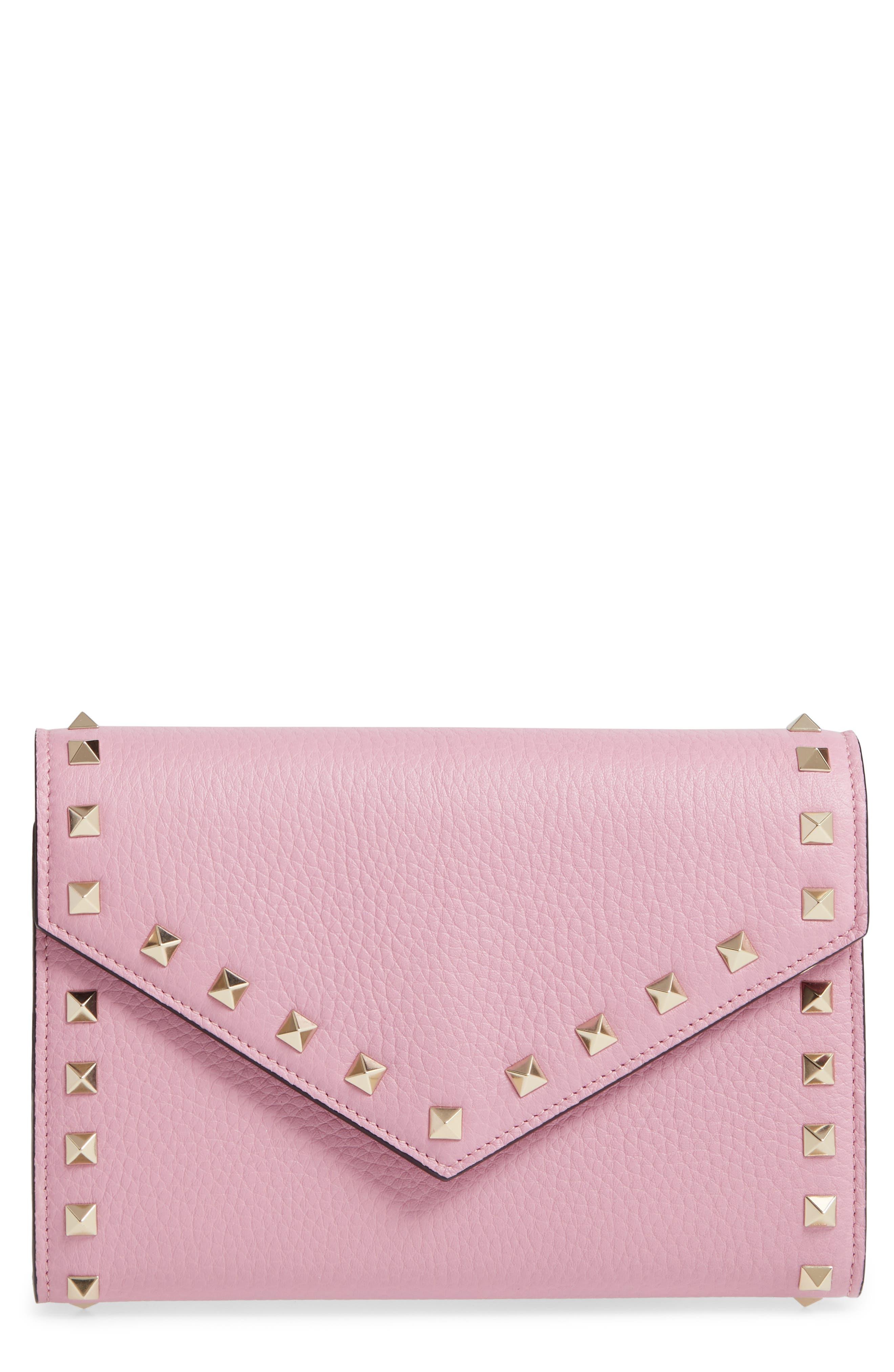 VALENTINO GARAVANI Rocktstud V-Flap Calfskin Leather Wallet on a Chain, Main, color, GIACINTO
