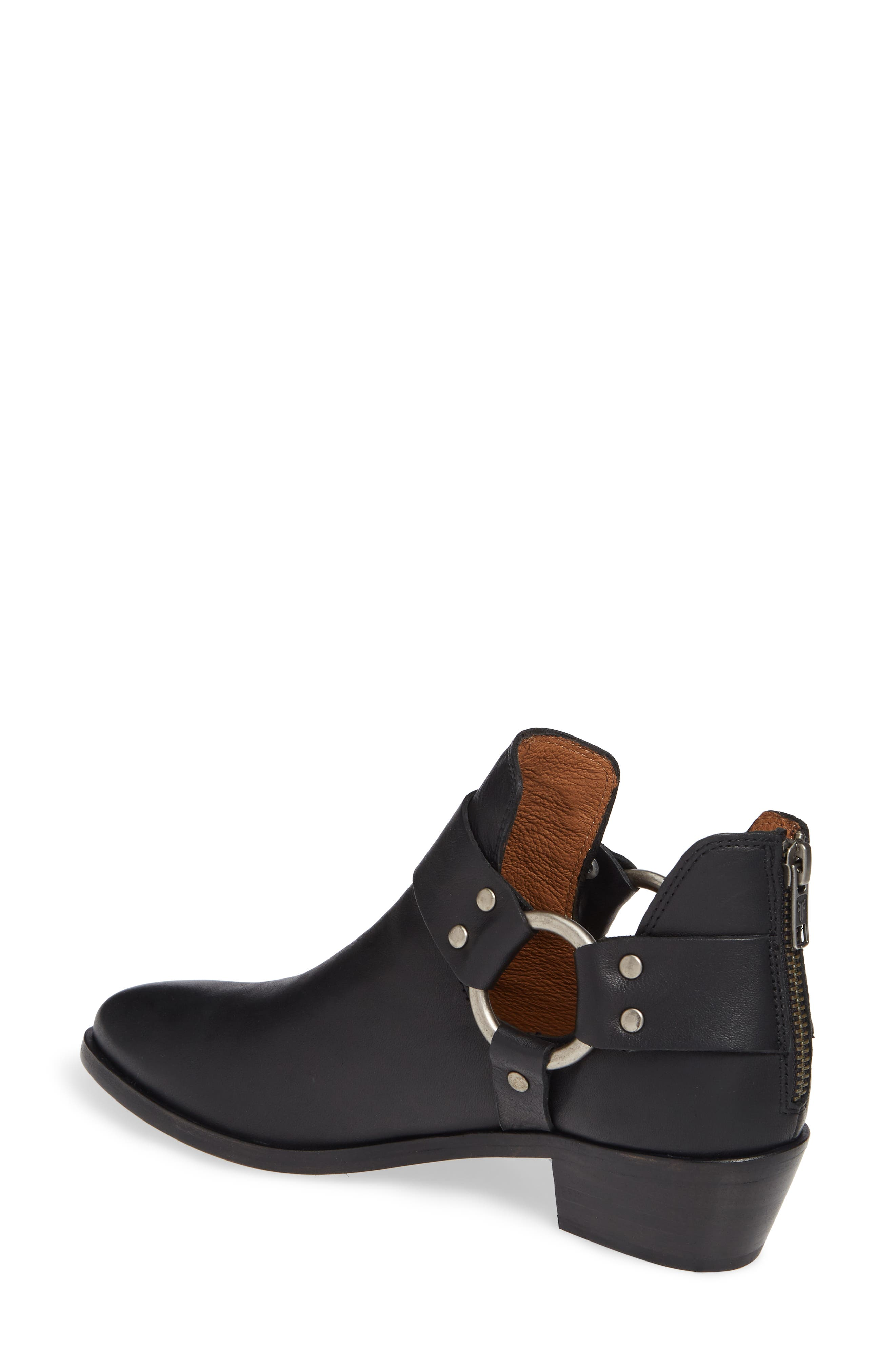 FRYE, Ray Low Harness Bootie, Alternate thumbnail 2, color, BLACK