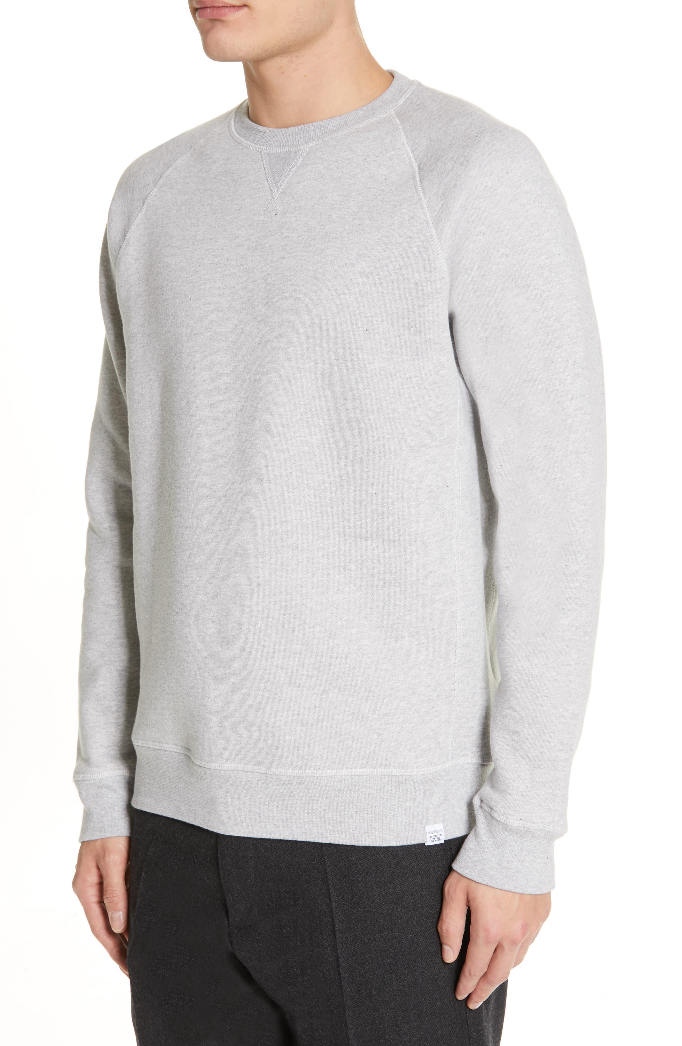 NORSE PROJECTS, Ketel Raglan Sweatshirt, Alternate thumbnail 4, color, LIGHT GREY MELANGE