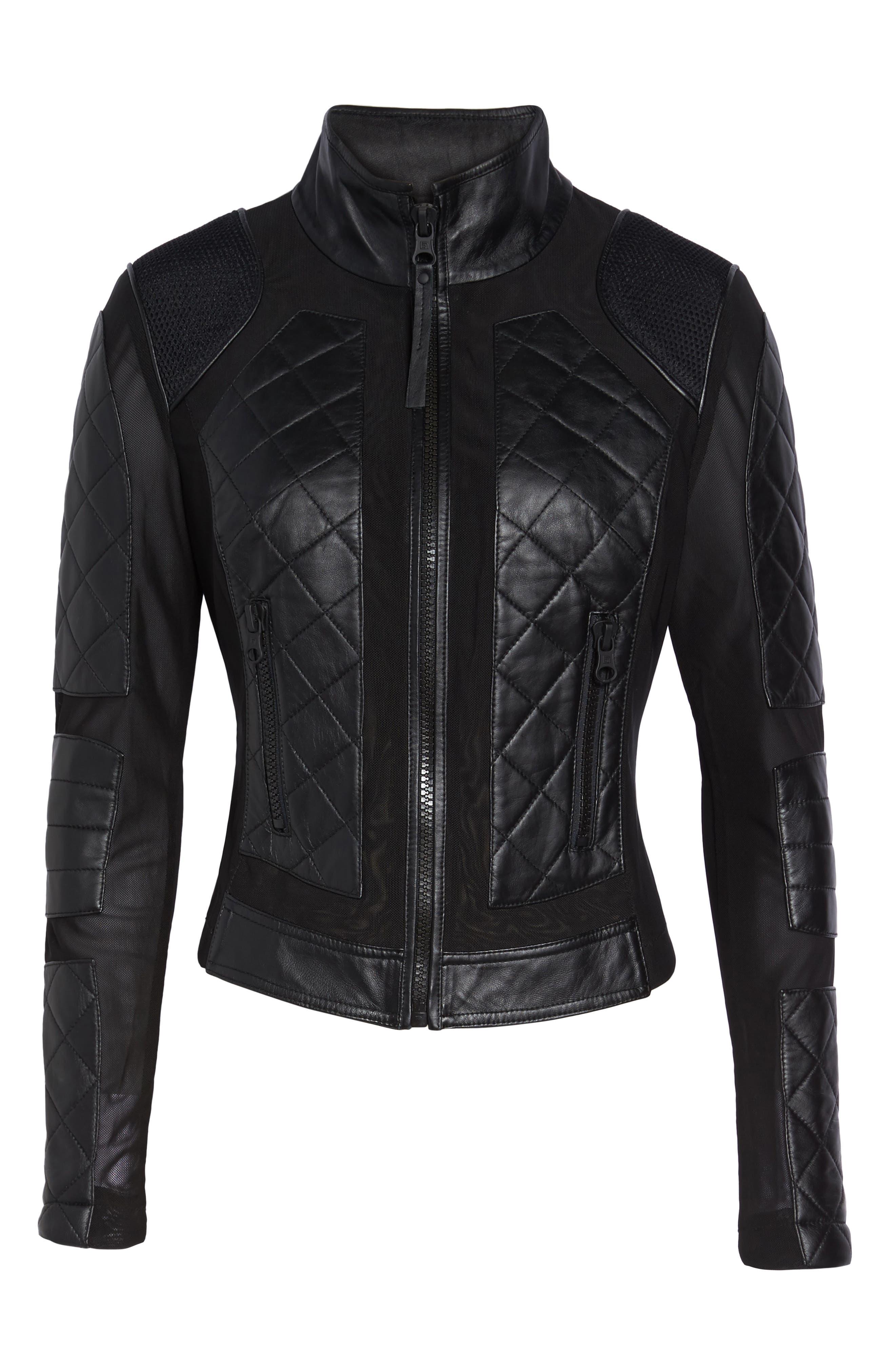 BLANC NOIR, Leather & Mesh Moto Jacket, Alternate thumbnail 6, color, BLACK