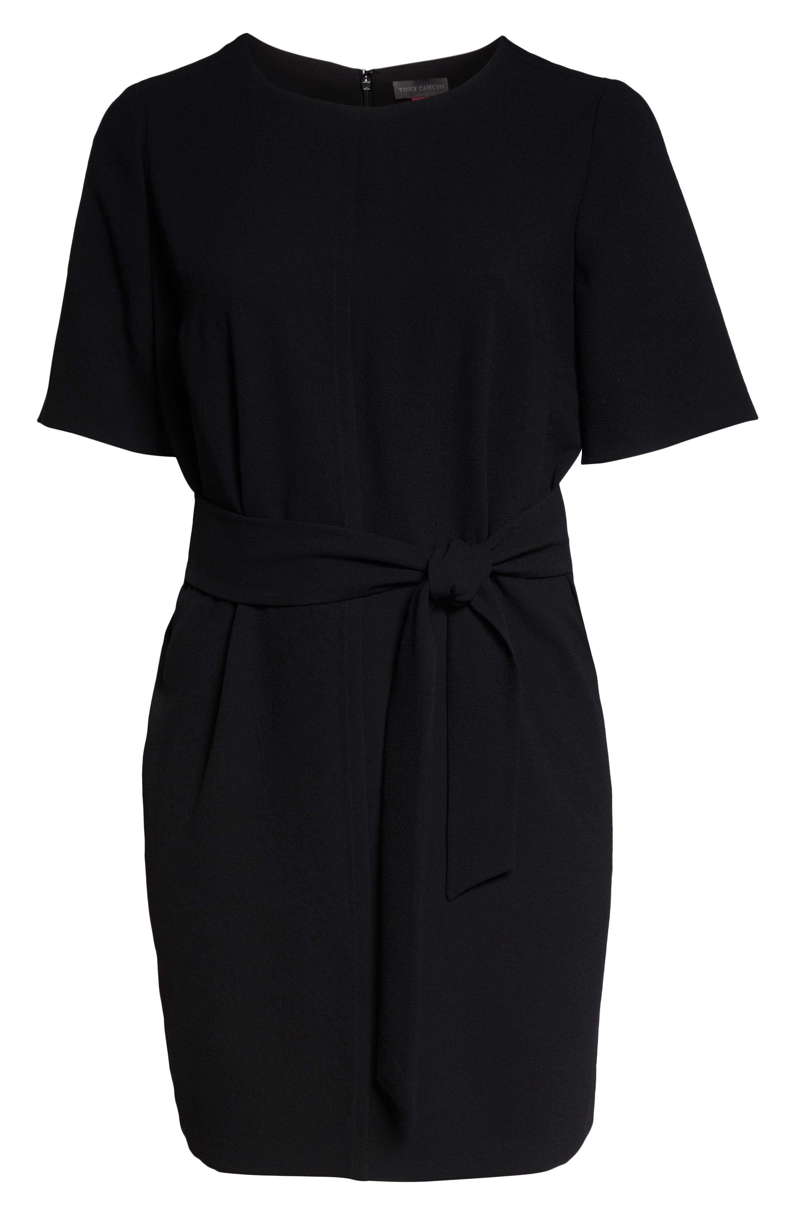 VINCE CAMUTO, Belt Parisian Crepe Dress, Alternate thumbnail 7, color, RICH BLACK