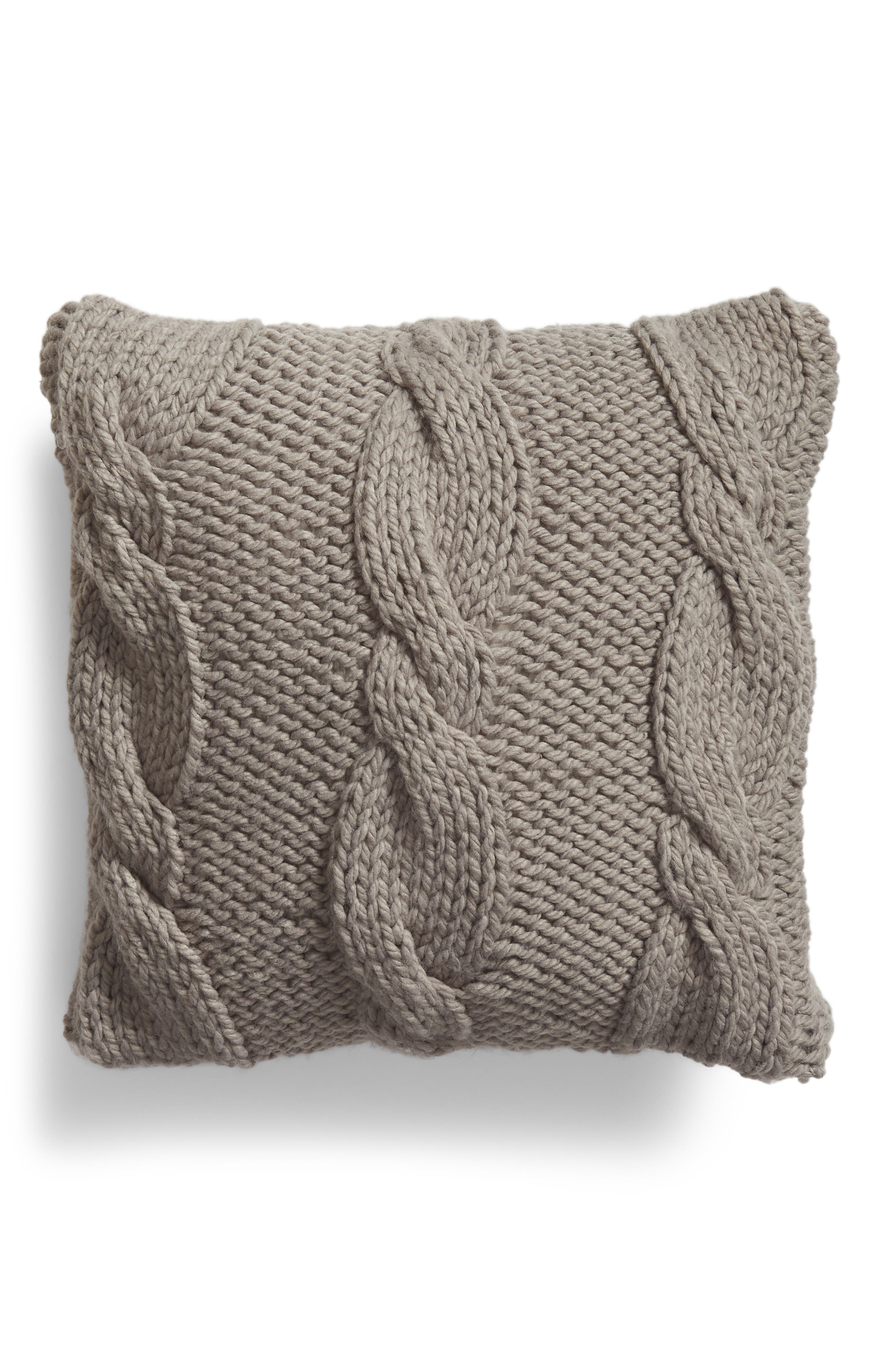 NORDSTROM AT HOME, Cable Knit Accent Pillow, Main thumbnail 1, color, GREY FROST