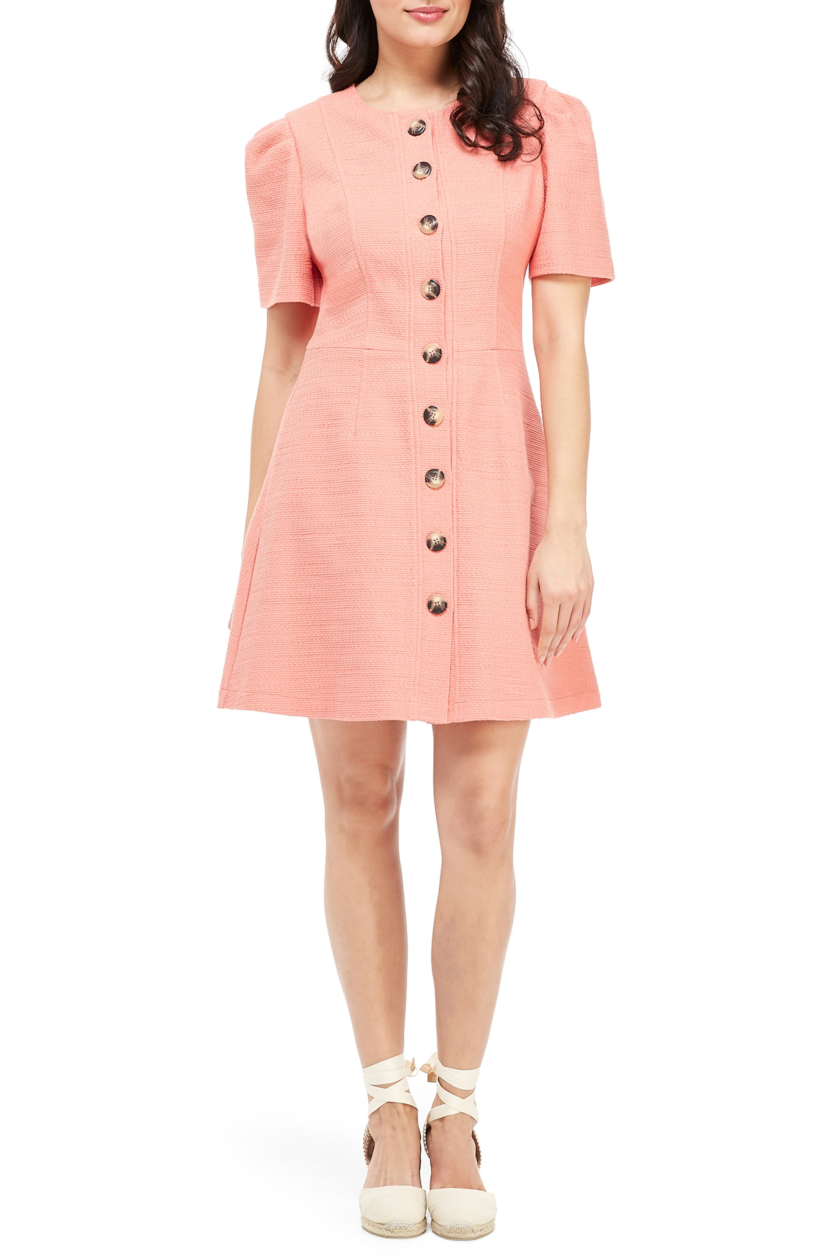 GAL MEETS GLAM COLLECTION Kathleen Button Front A-Line Dress, Main, color, SALMON