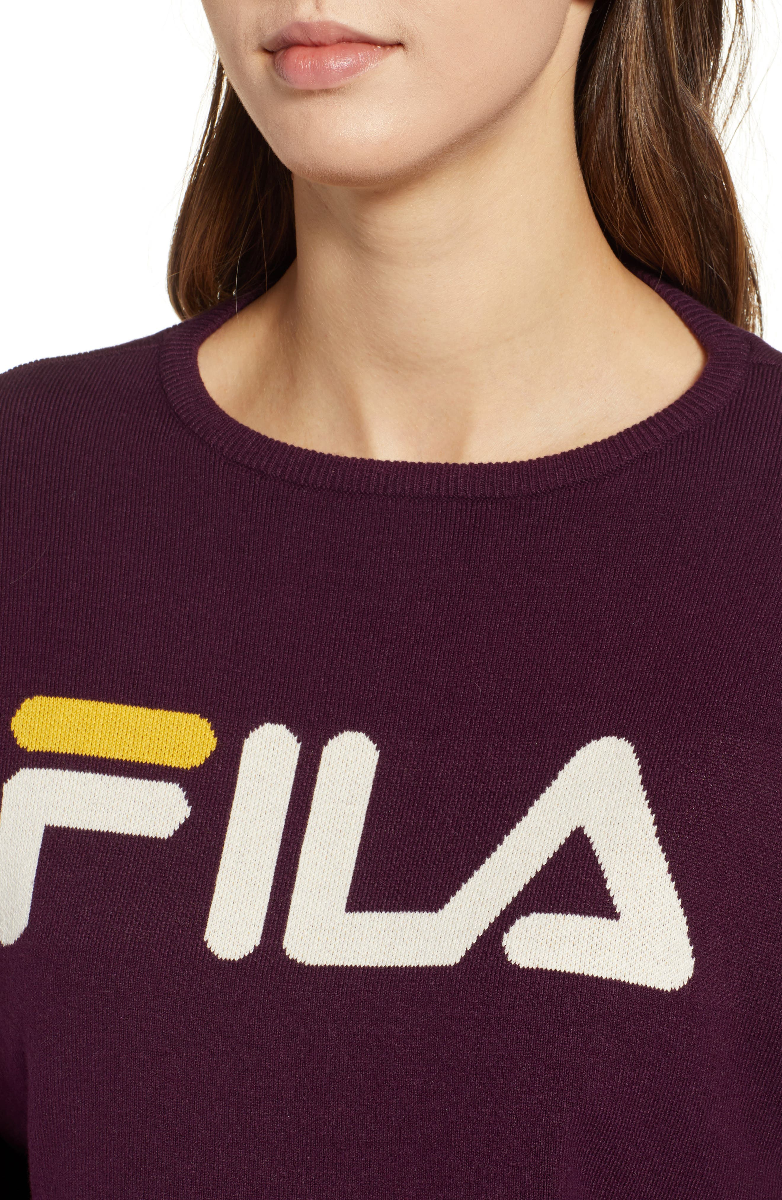 FILA, Palmira Crop Sweater, Alternate thumbnail 5, color, POTENT PURPLE