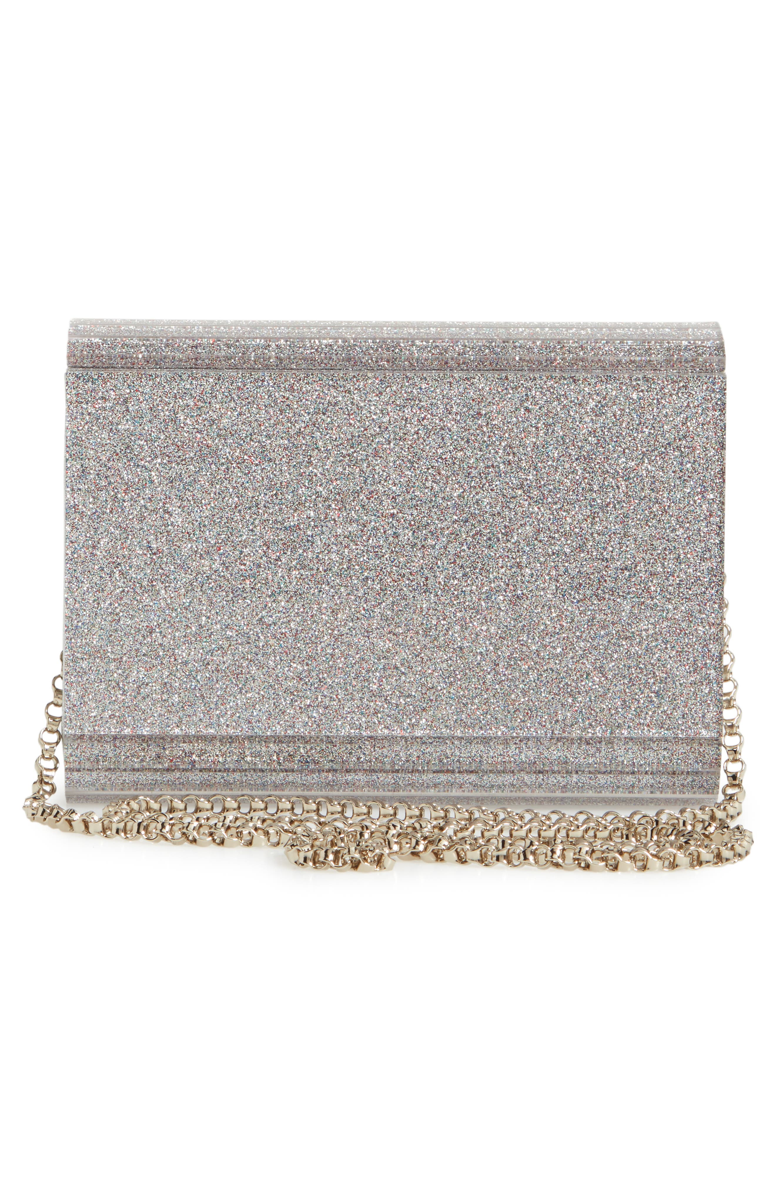 JIMMY CHOO, Candy Glitter Clutch, Alternate thumbnail 3, color, 040