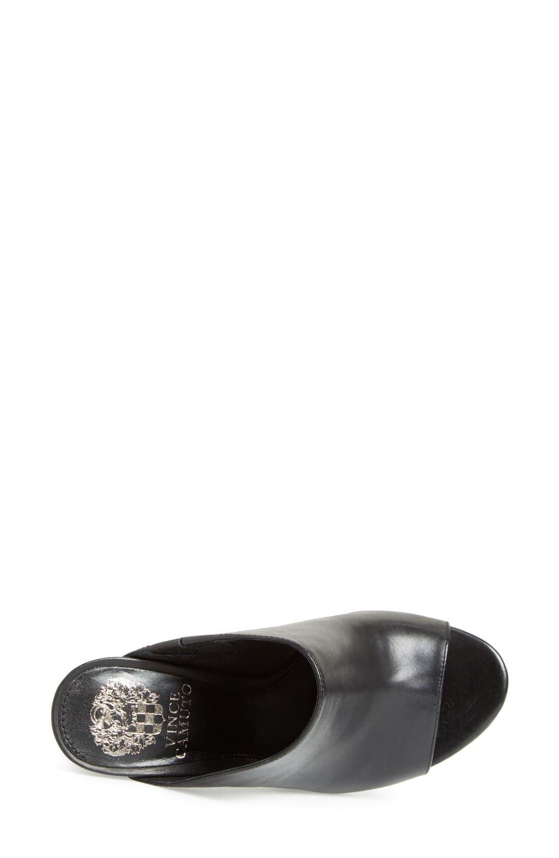 VINCE CAMUTO, 'Vestata' Leather Peep Toe Mule, Alternate thumbnail 2, color, 001