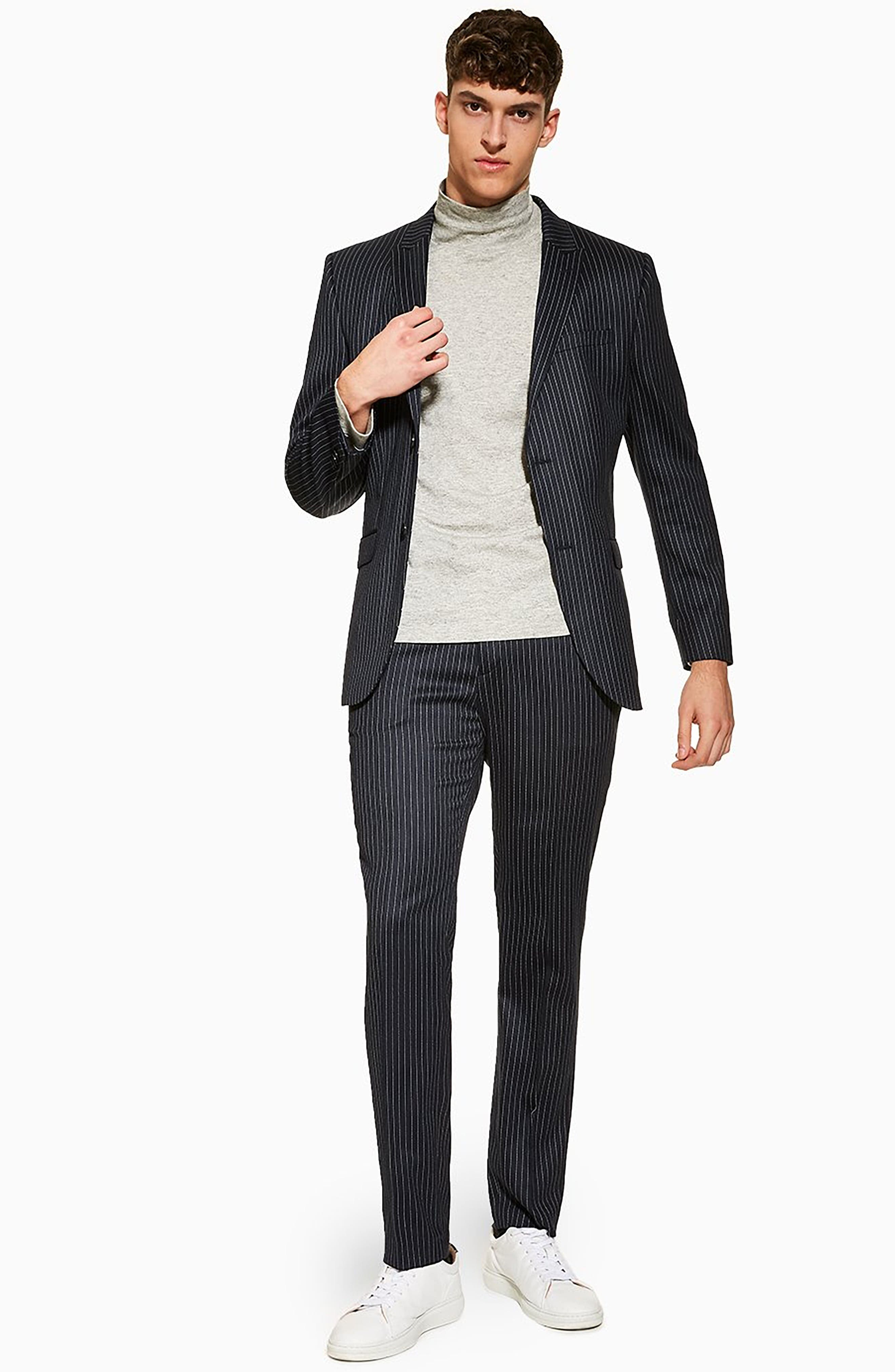 TOPMAN, Tailored Pinstripe Suit Jacket, Alternate thumbnail 6, color, NAVY BLUE