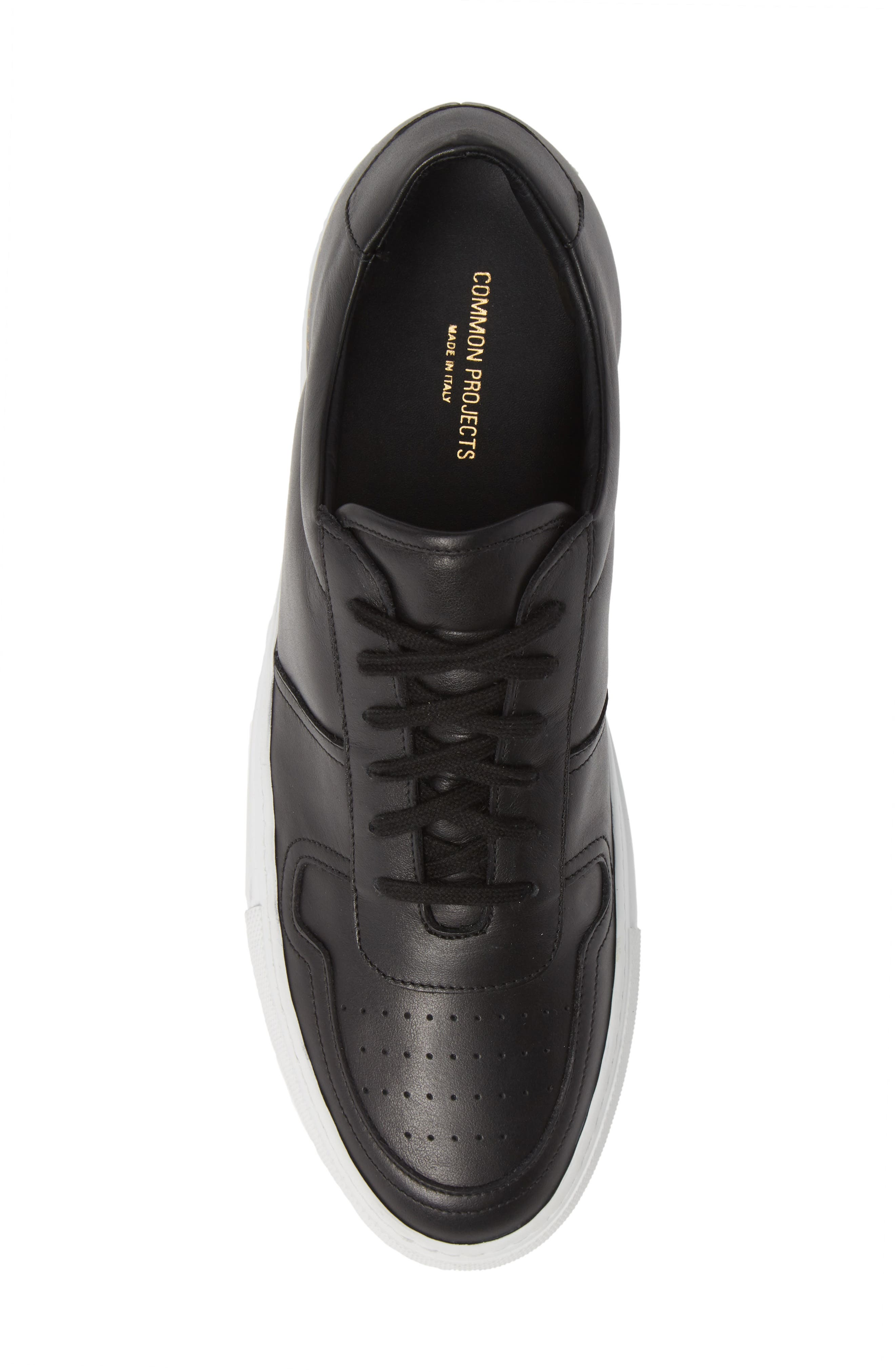 COMMON PROJECTS, Bball Low Top Sneaker, Alternate thumbnail 5, color, BLACK