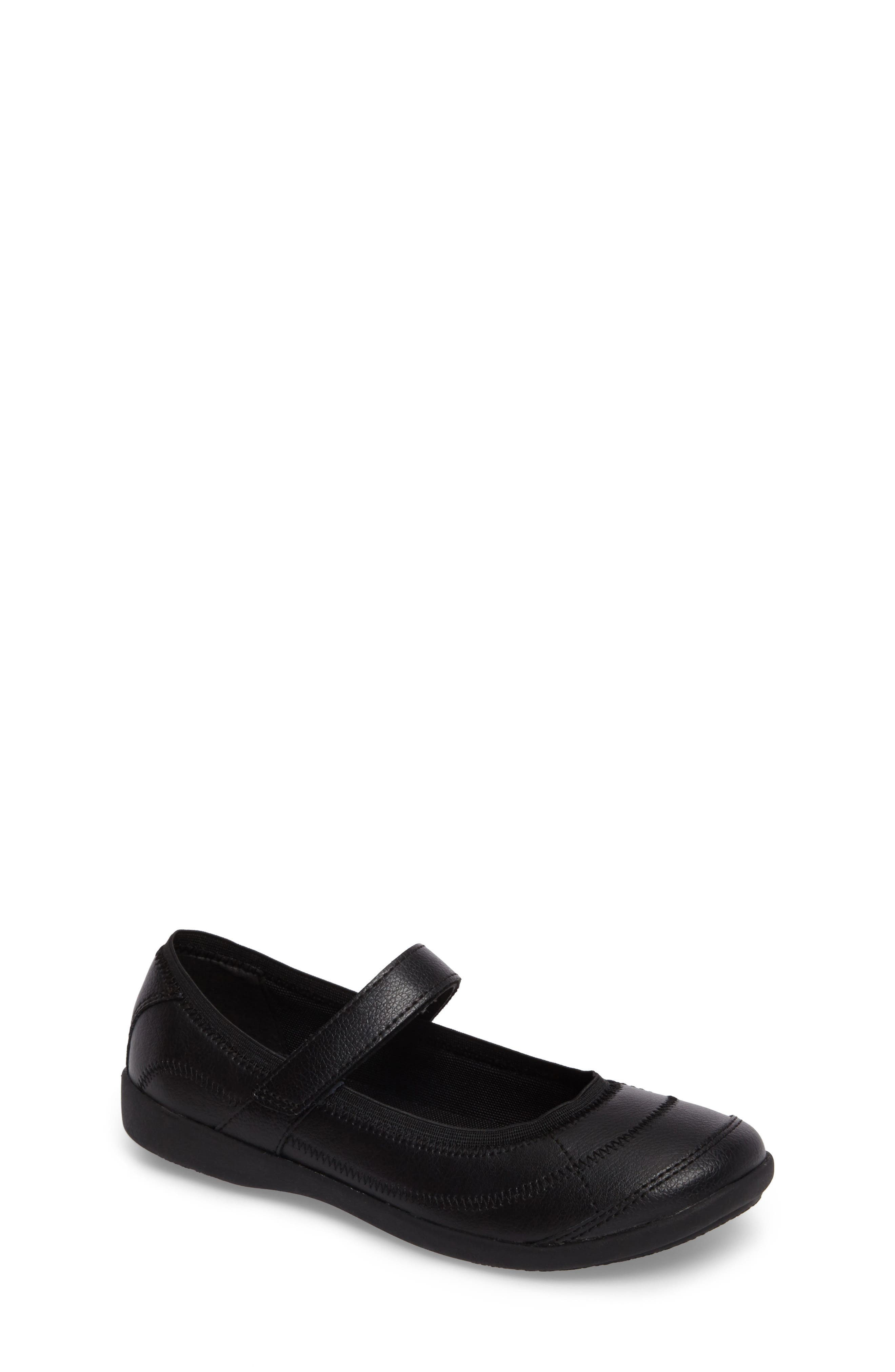 HUSH PUPPIES<SUP>®</SUP>, Reese Mary Jane Flat, Main thumbnail 1, color, BLACK LEATHER