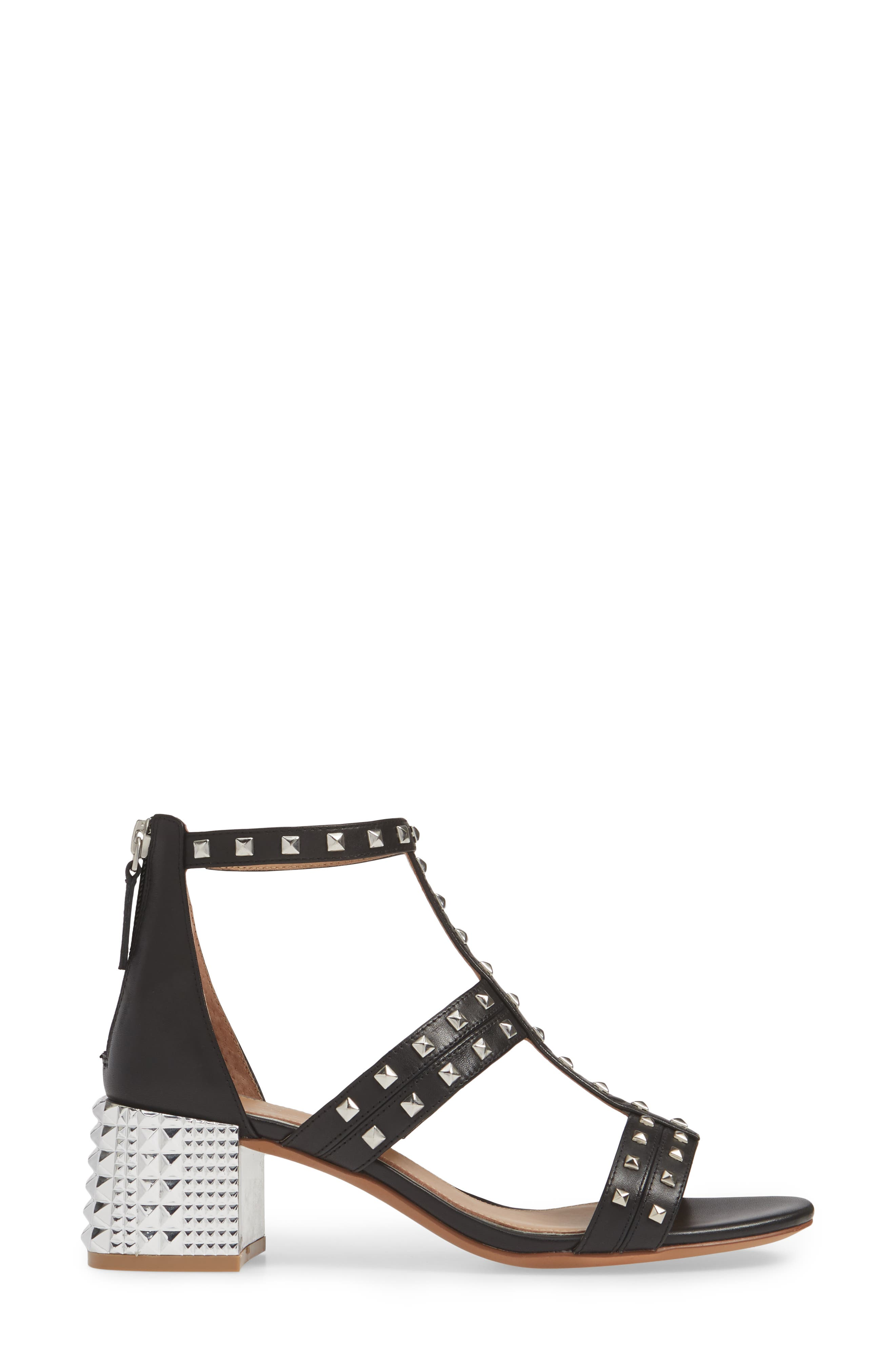LINEA PAOLO, Harley Sandal, Alternate thumbnail 3, color, BLACK LEATHER