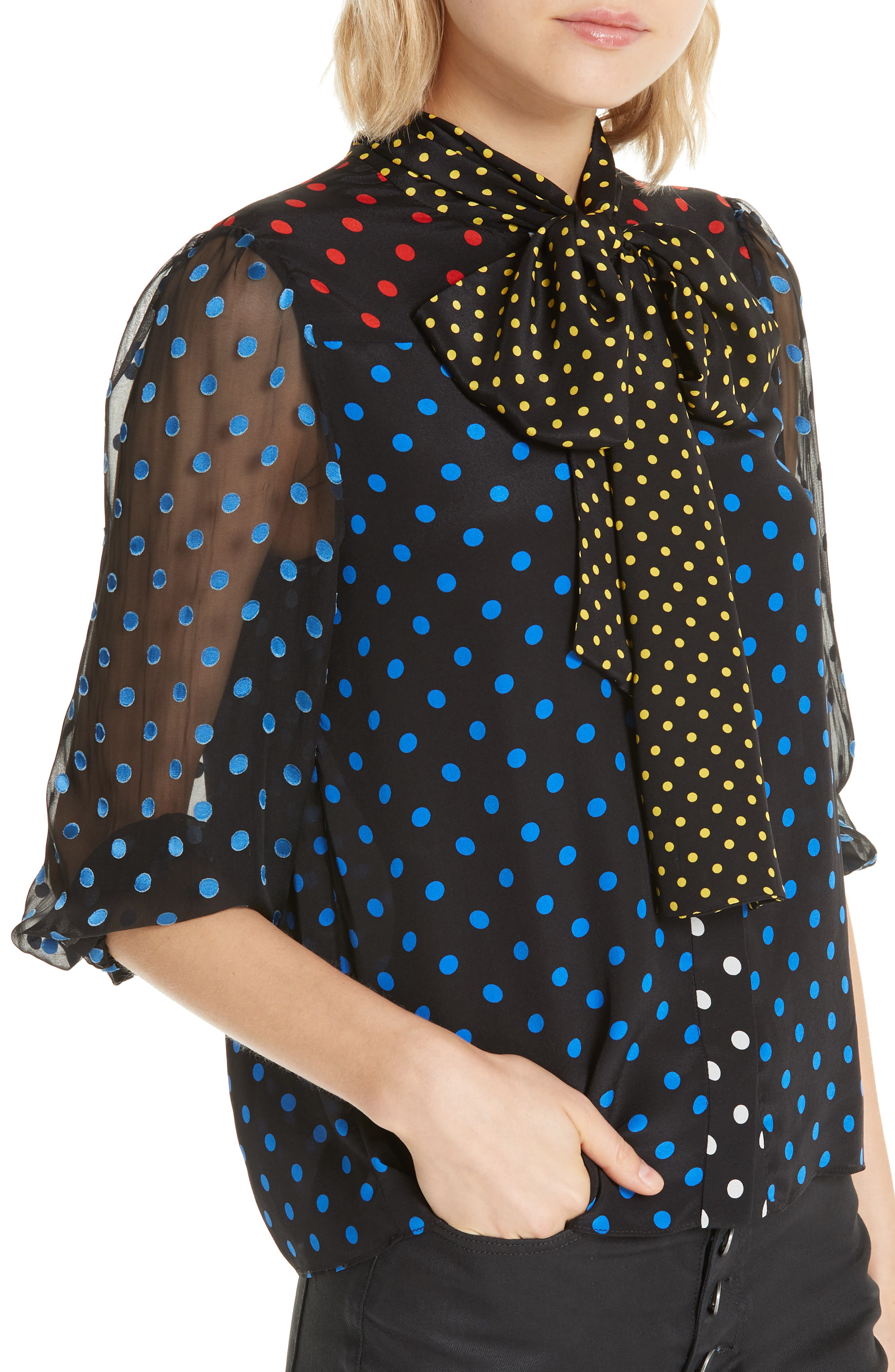 ALICE + OLIVIA, Jeannie Bow Neck Blouse, Alternate thumbnail 4, color, 001