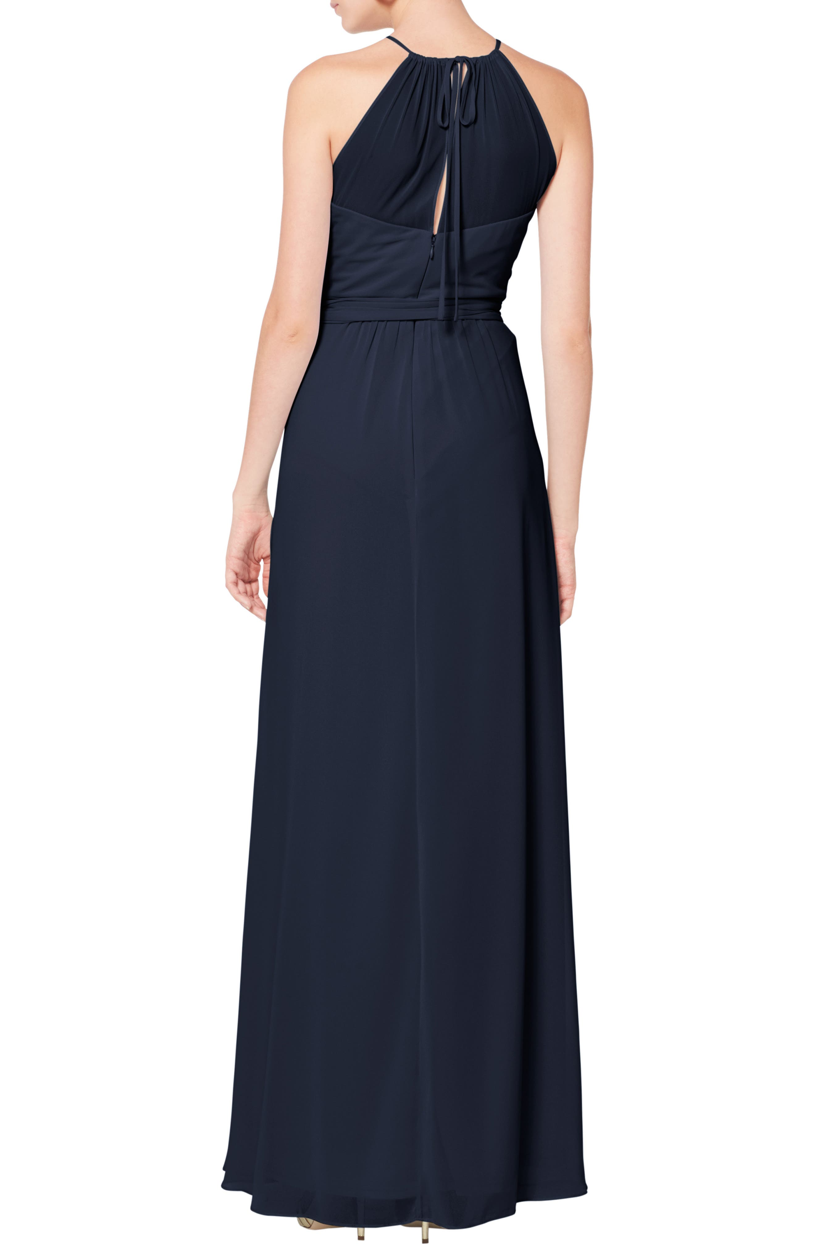 #LEVKOFF, Halter Neck Tie Detail Chiffon Gown, Alternate thumbnail 2, color, NAVY