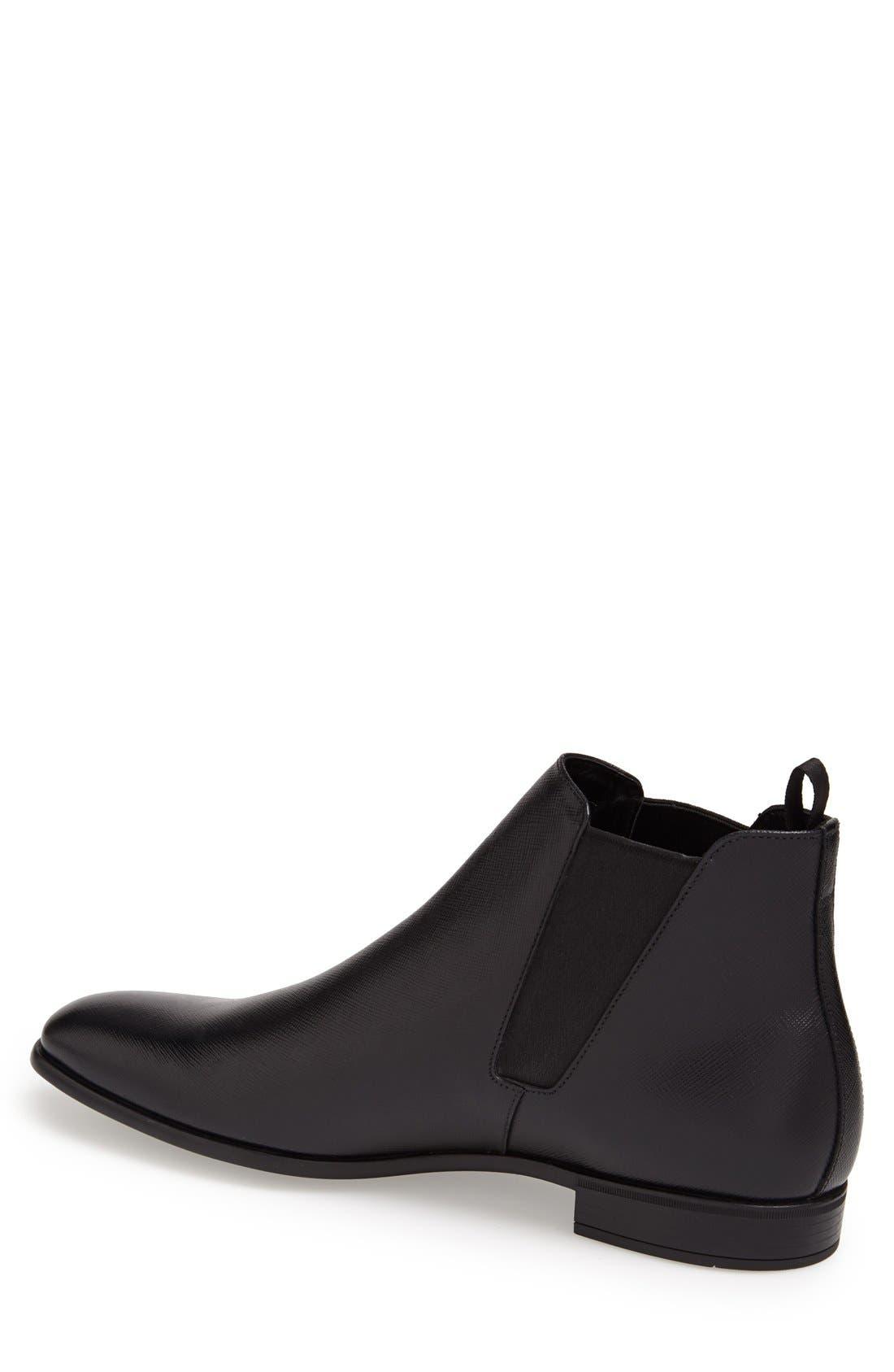 PRADA, Saffiano Leather Chelsea Boot, Alternate thumbnail 2, color, BLACK