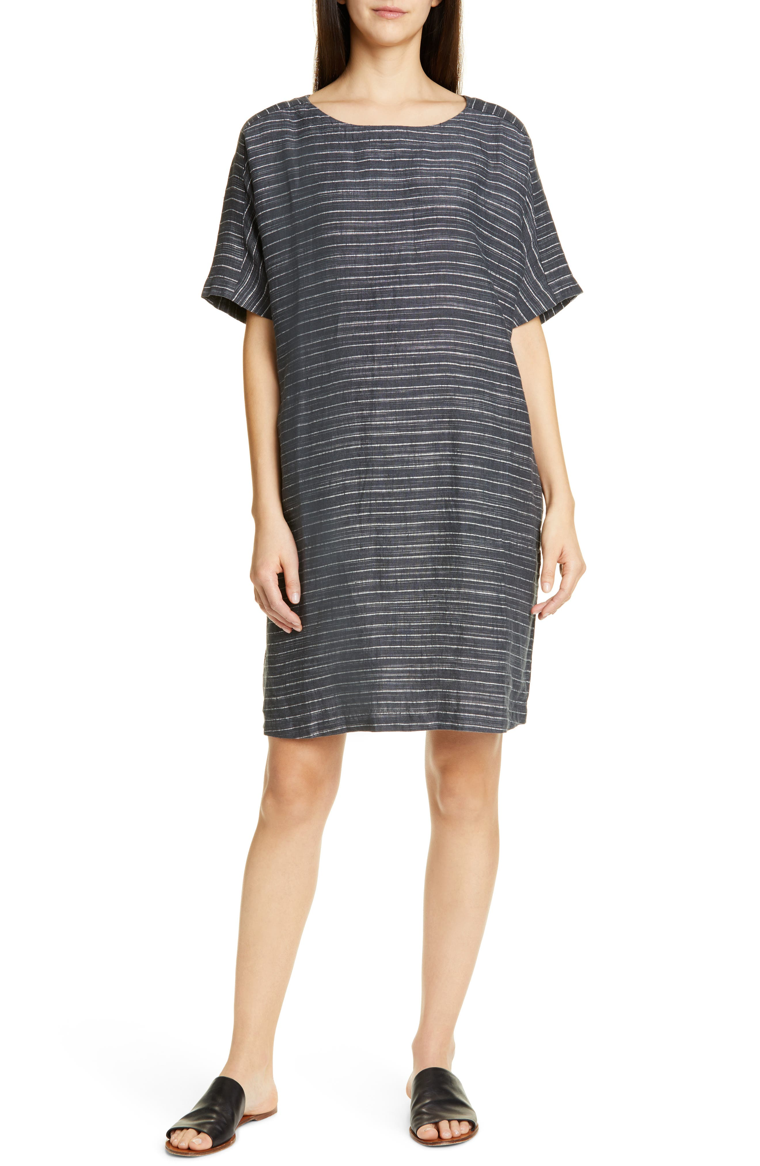 Petite Eileen Fisher Stripe Linen Tunic Dress, Grey