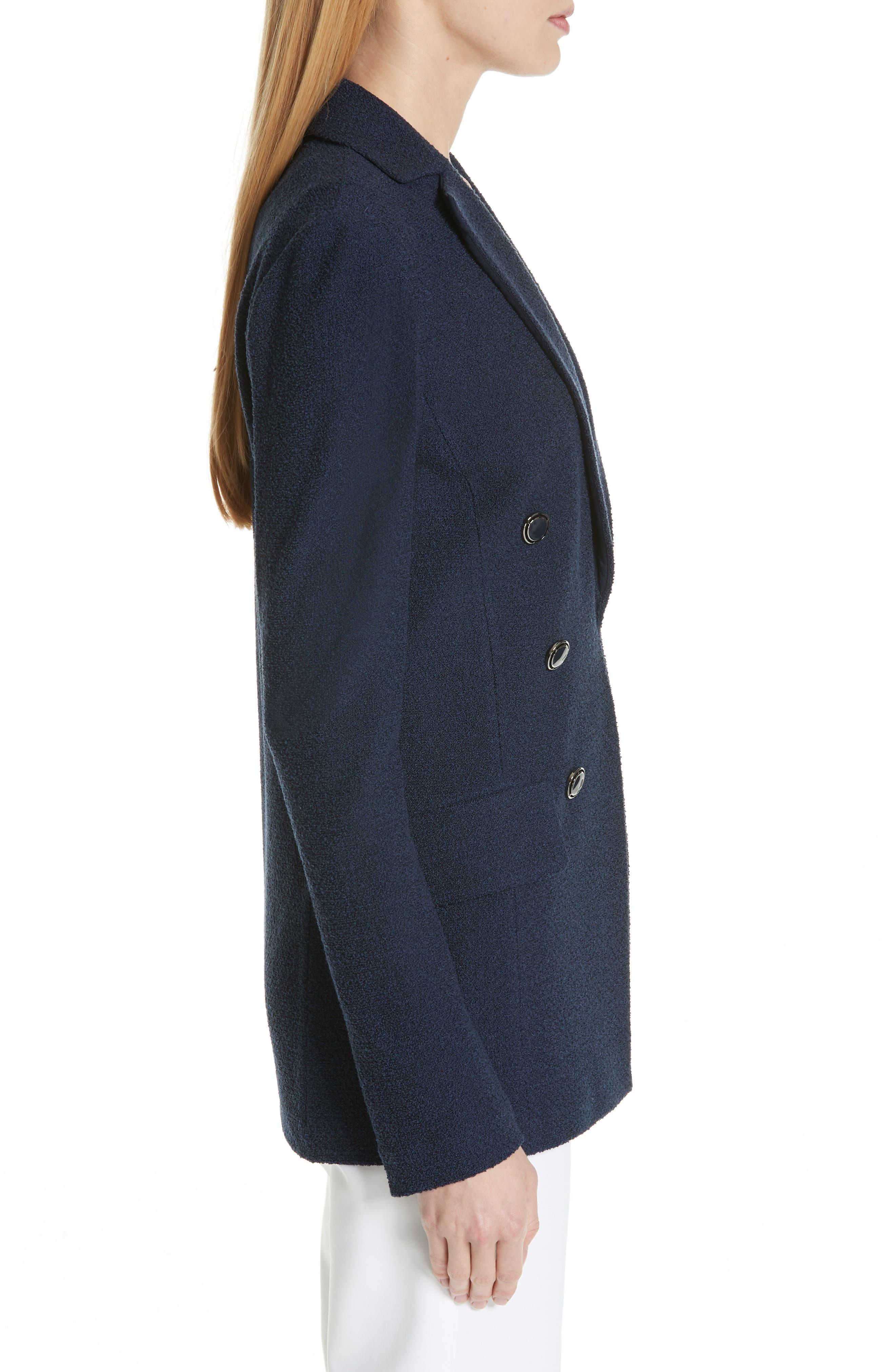 ST. JOHN COLLECTION, Ana Bouclé Knit Blazer, Alternate thumbnail 4, color, DEEP BLUE