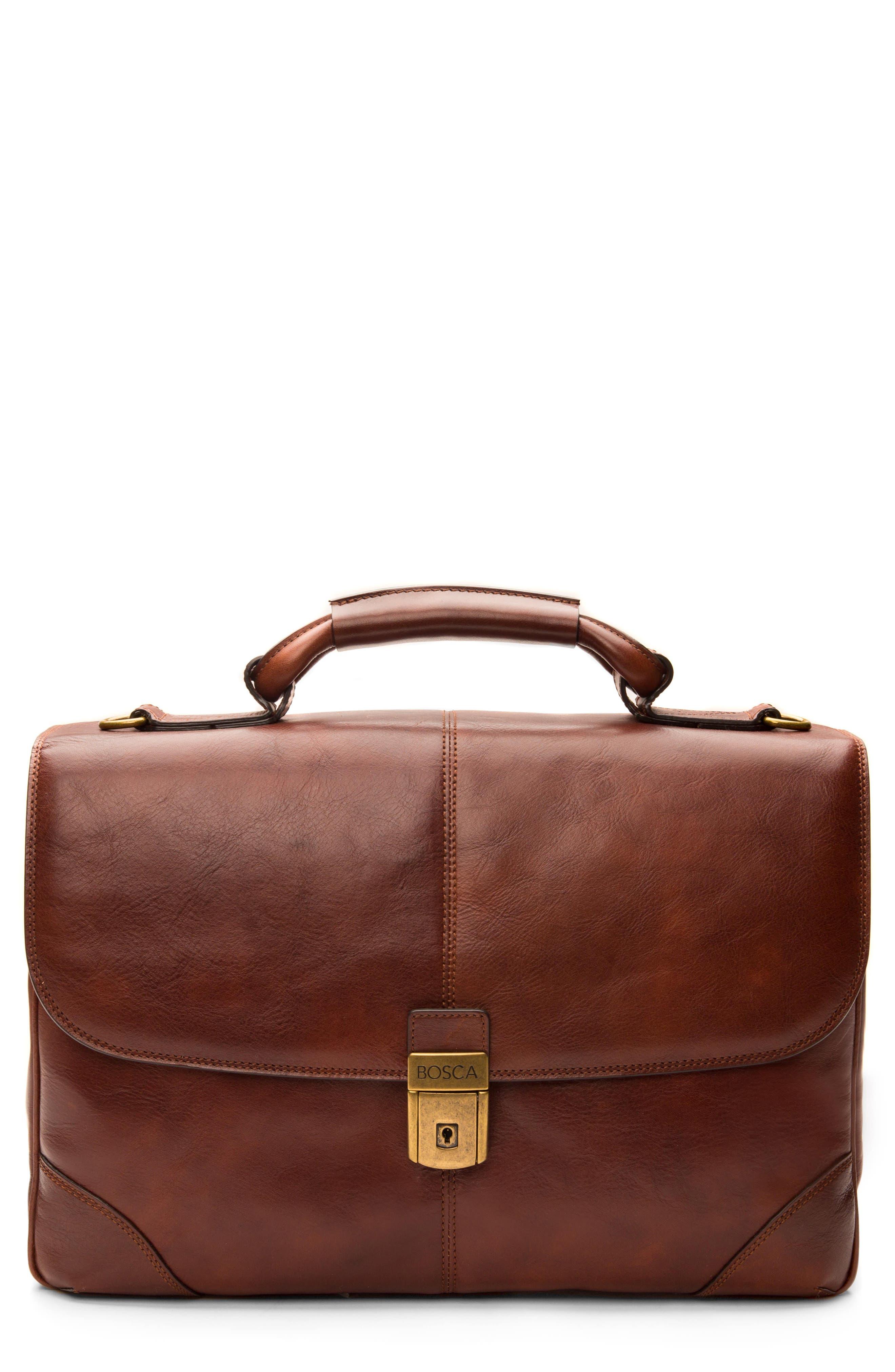 BOSCA Leather Briefcase, Main, color, DARK BROWN