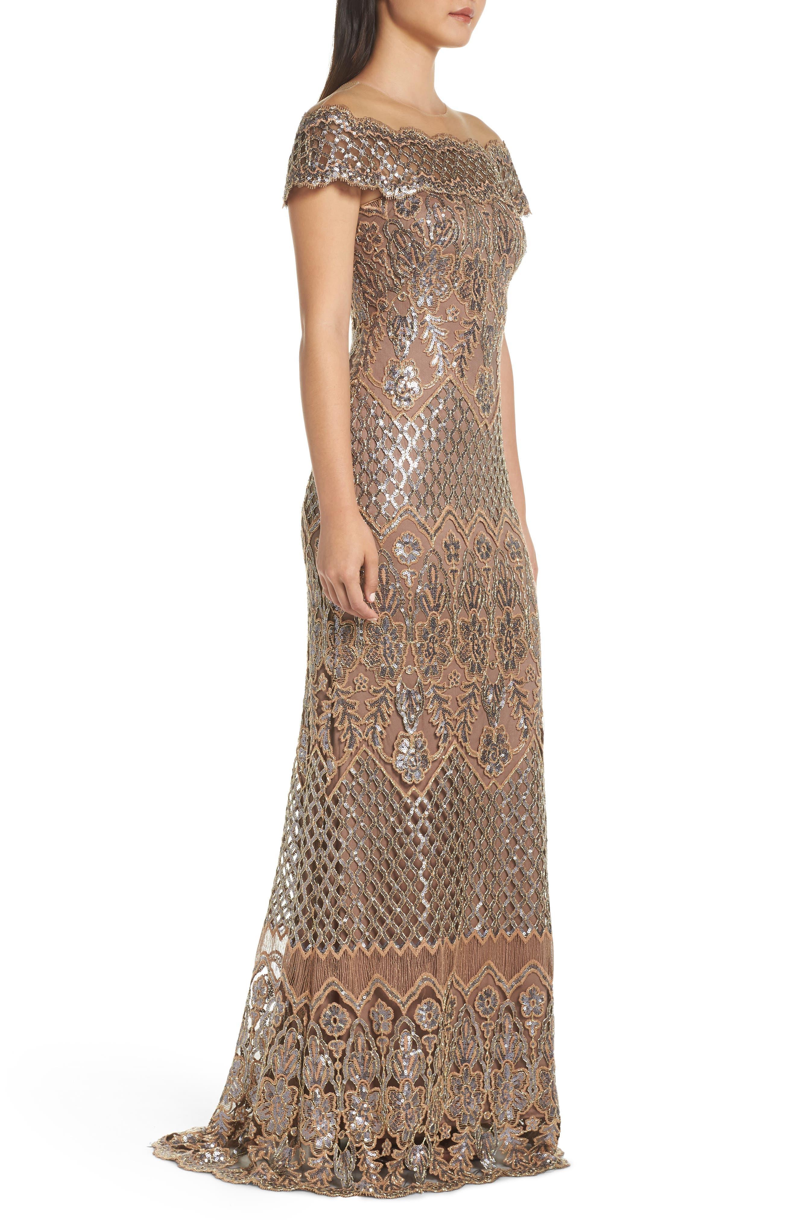 TADASHI SHOJI, Illusion Neck Sequin Lace Evening Dress, Alternate thumbnail 4, color, 230
