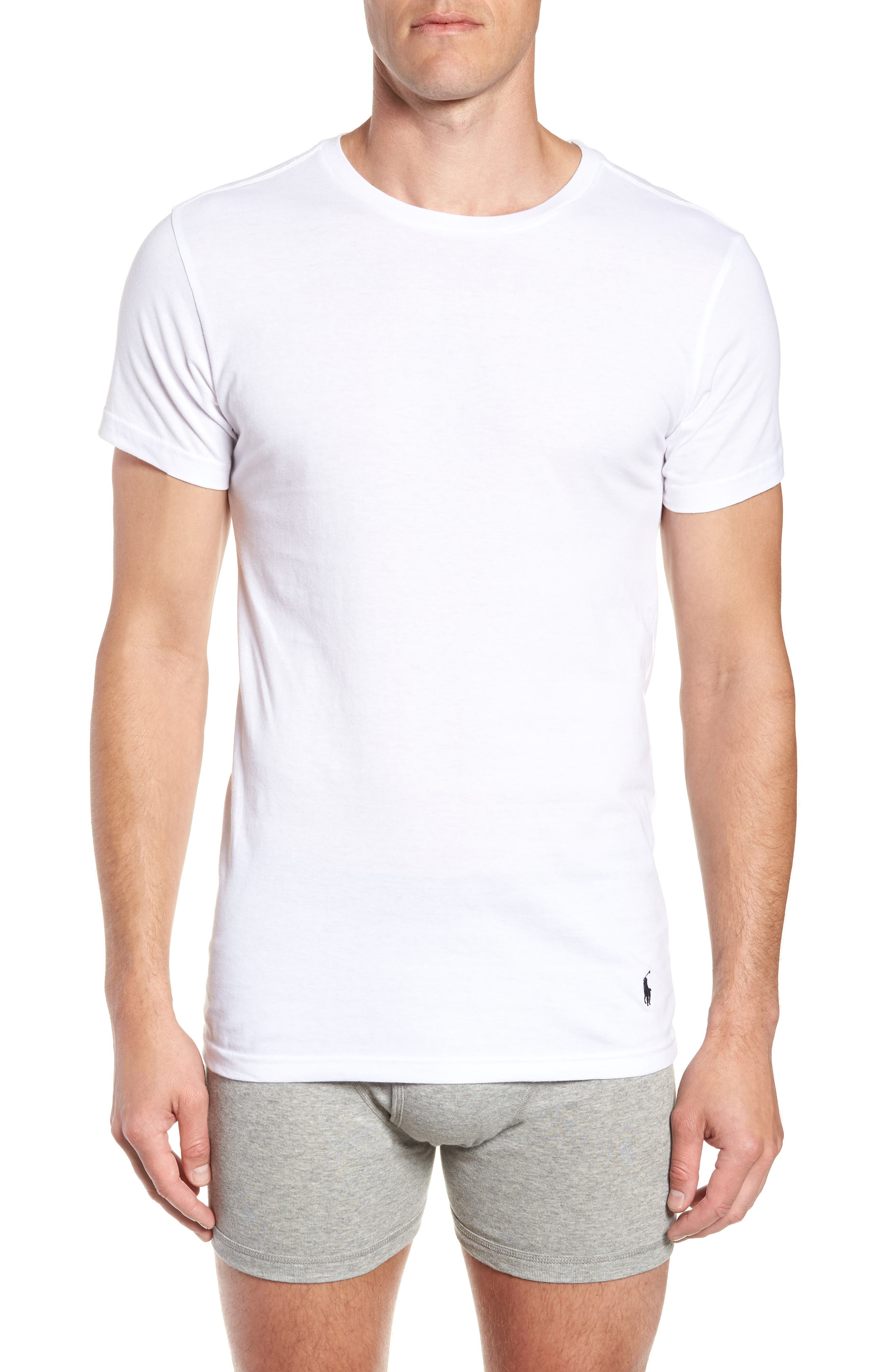 LAUREN RALPH LAUREN, Polo Ralph Lauren 3-Pack Slim Fit Crewneck T-Shirts, Alternate thumbnail 2, color, WHITE