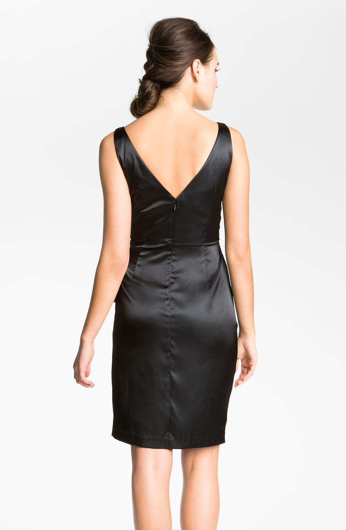 MAGGY LONDON, Side Bow Stretch Satin Sheath Dress, Alternate thumbnail 3, color, 001