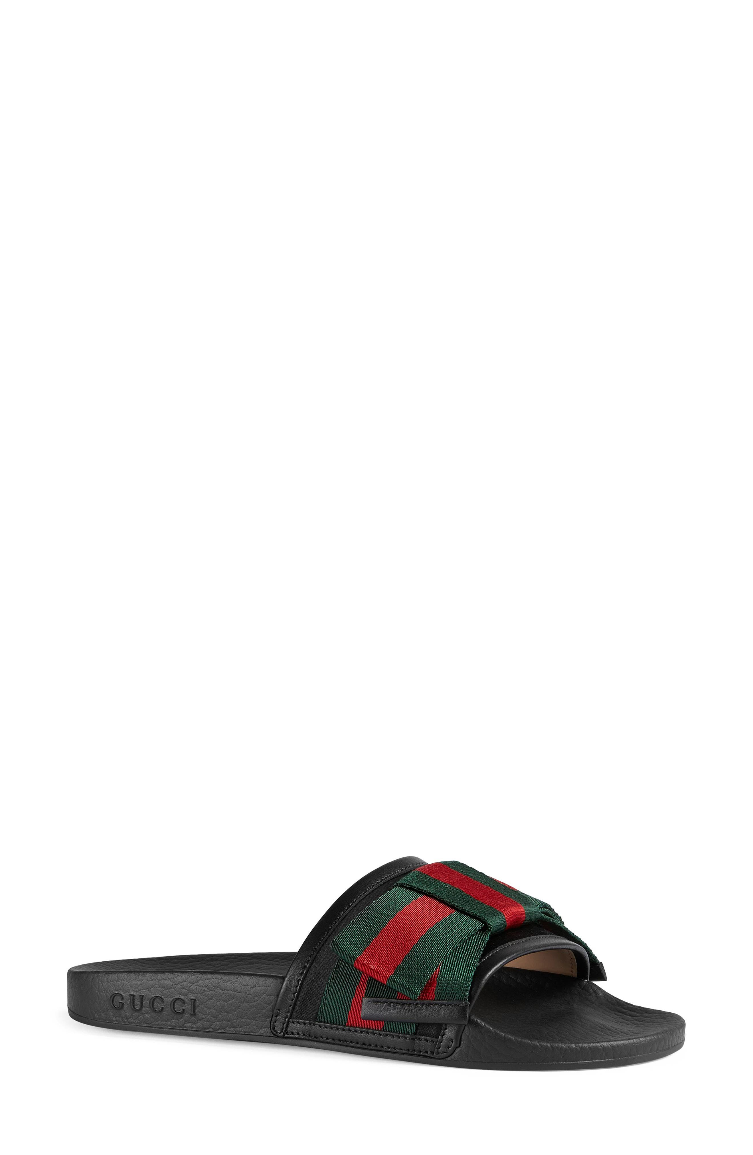 GUCCI Pursuit Bow Slide Sandal, Main, color, BLACK