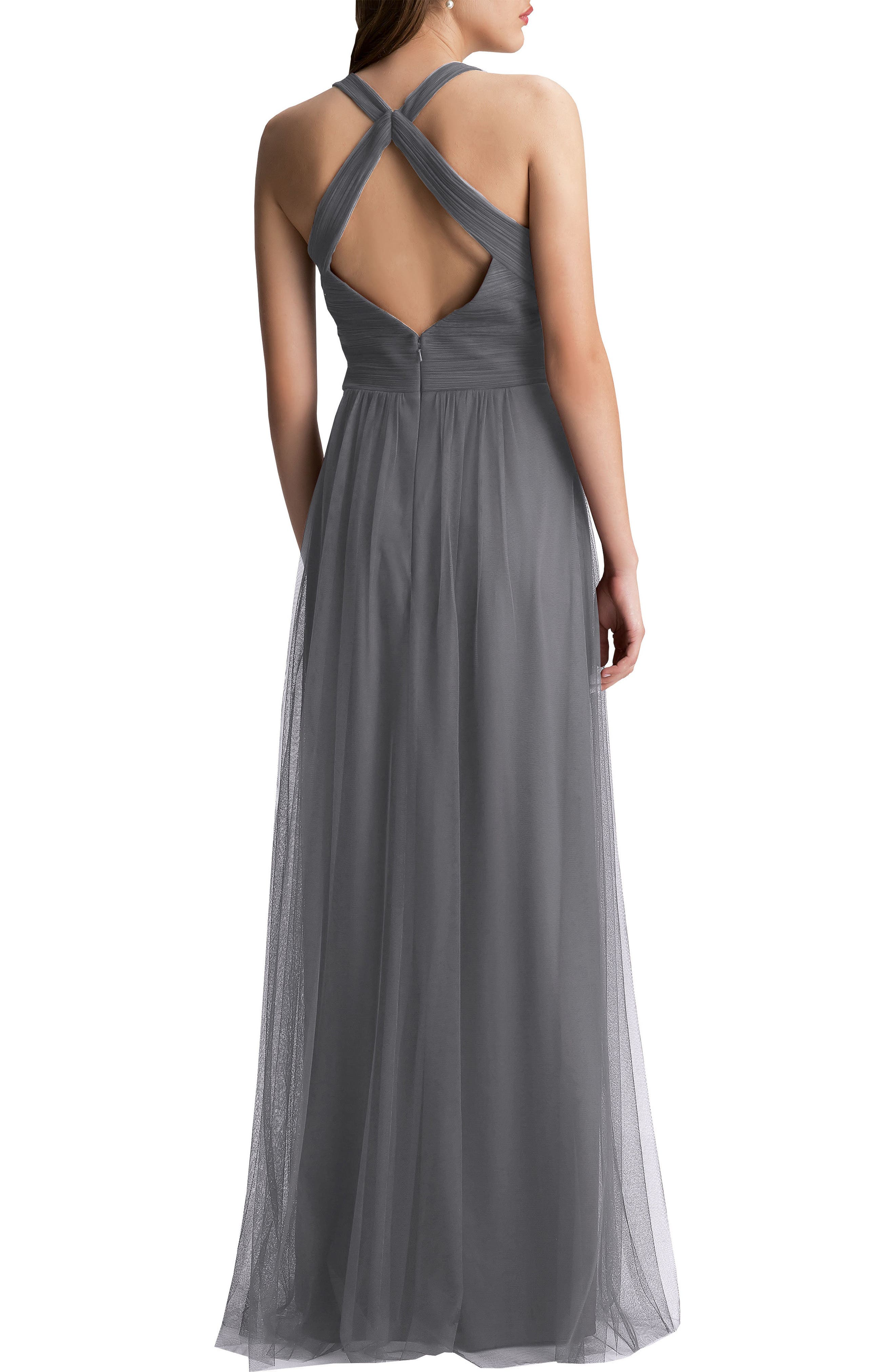 #LEVKOFF, Crisscross Strap English Net A-Line Gown, Alternate thumbnail 2, color, PEWTER