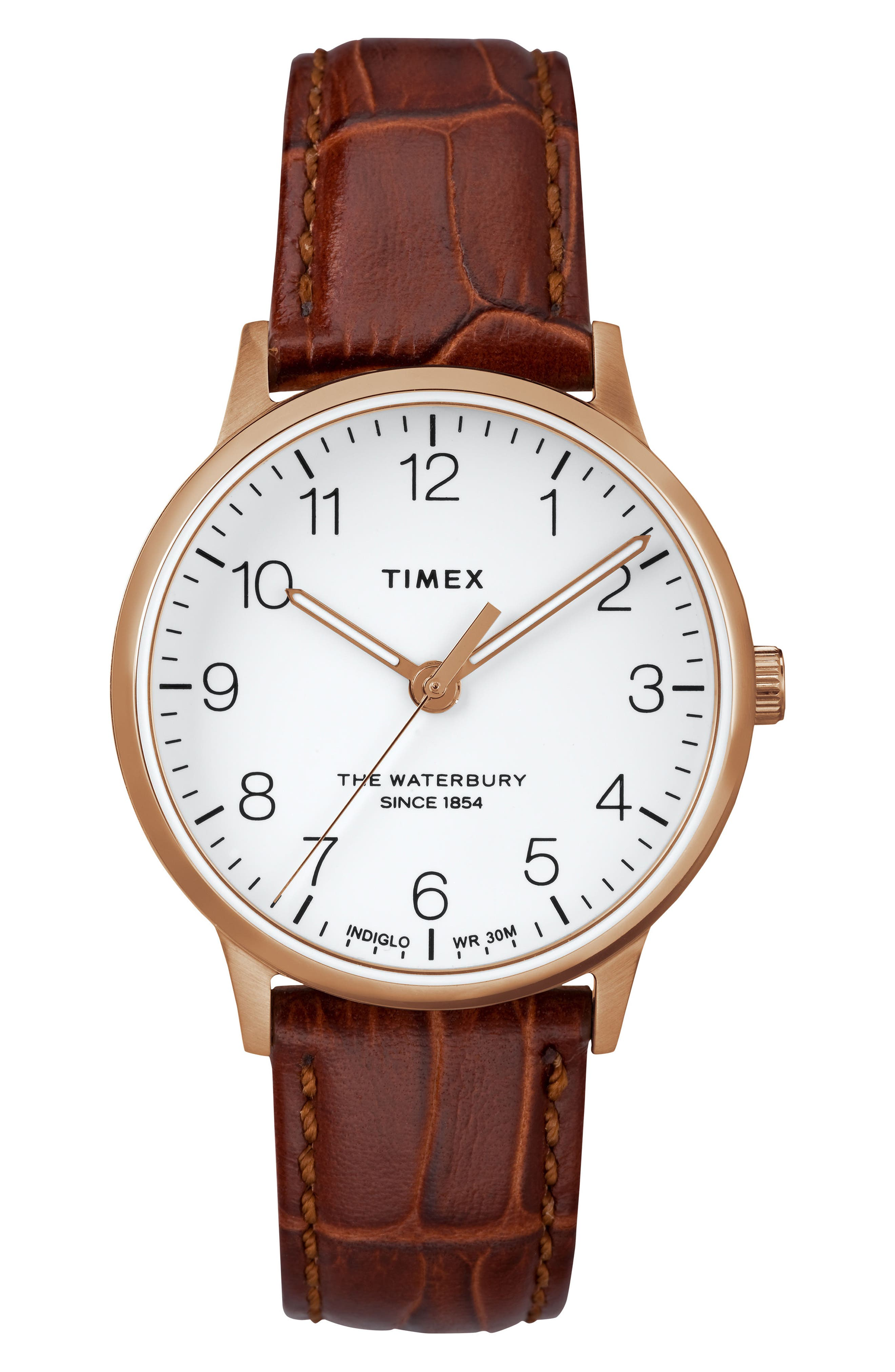 TIMEX<SUP>®</SUP>, Waterbury Leather Strap Watch, 36mm, Main thumbnail 1, color, BROWN/ WHITE/ ROSE GOLD