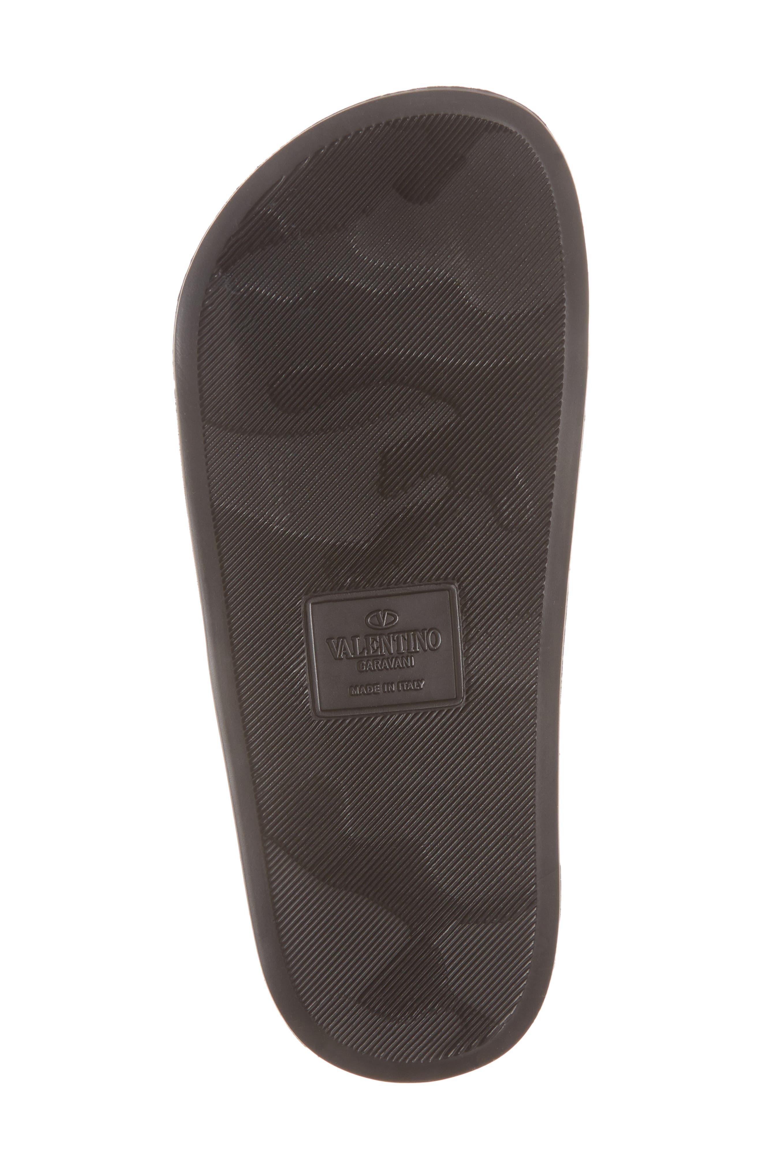 VALENTINO GARAVANI, VLTN Pool Slide Sandal, Alternate thumbnail 6, color, BLACK/ WHITE