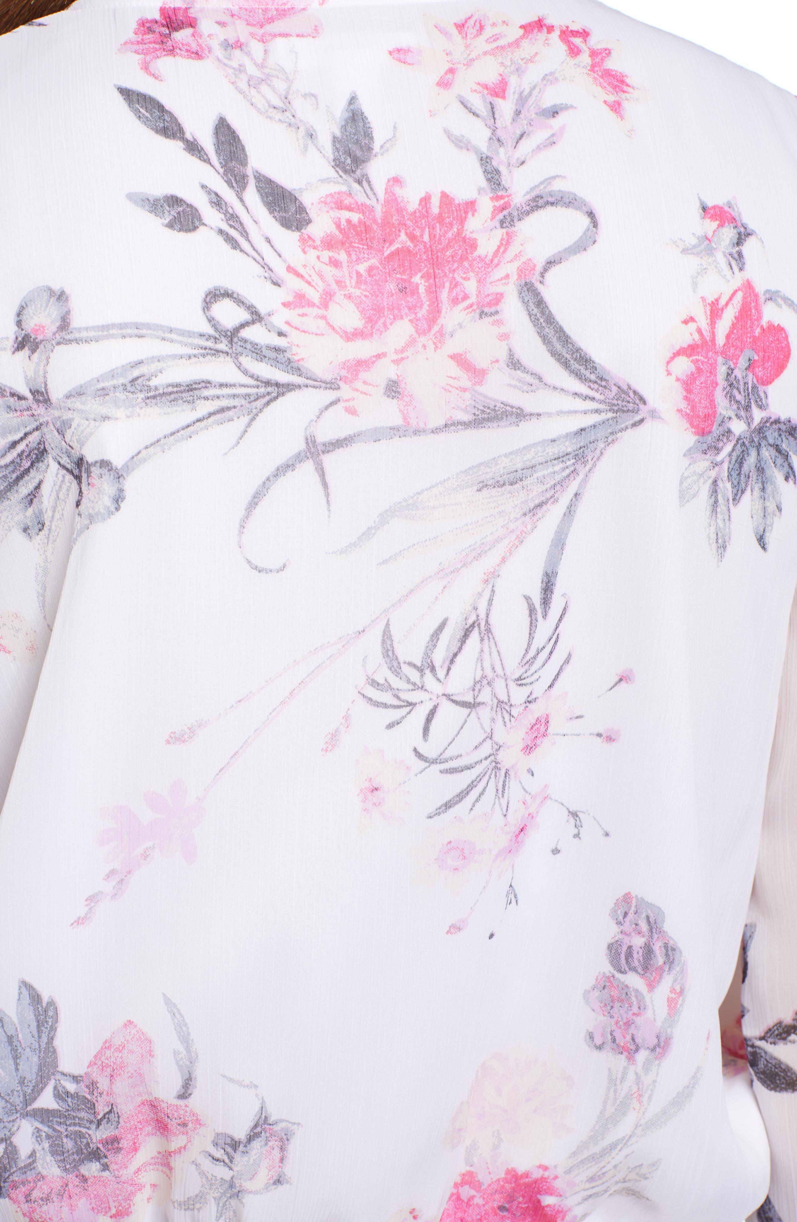 LEITH, Floral Faux Wrap Top, Alternate thumbnail 5, color, WHITE ROMANTIC BLOOMS