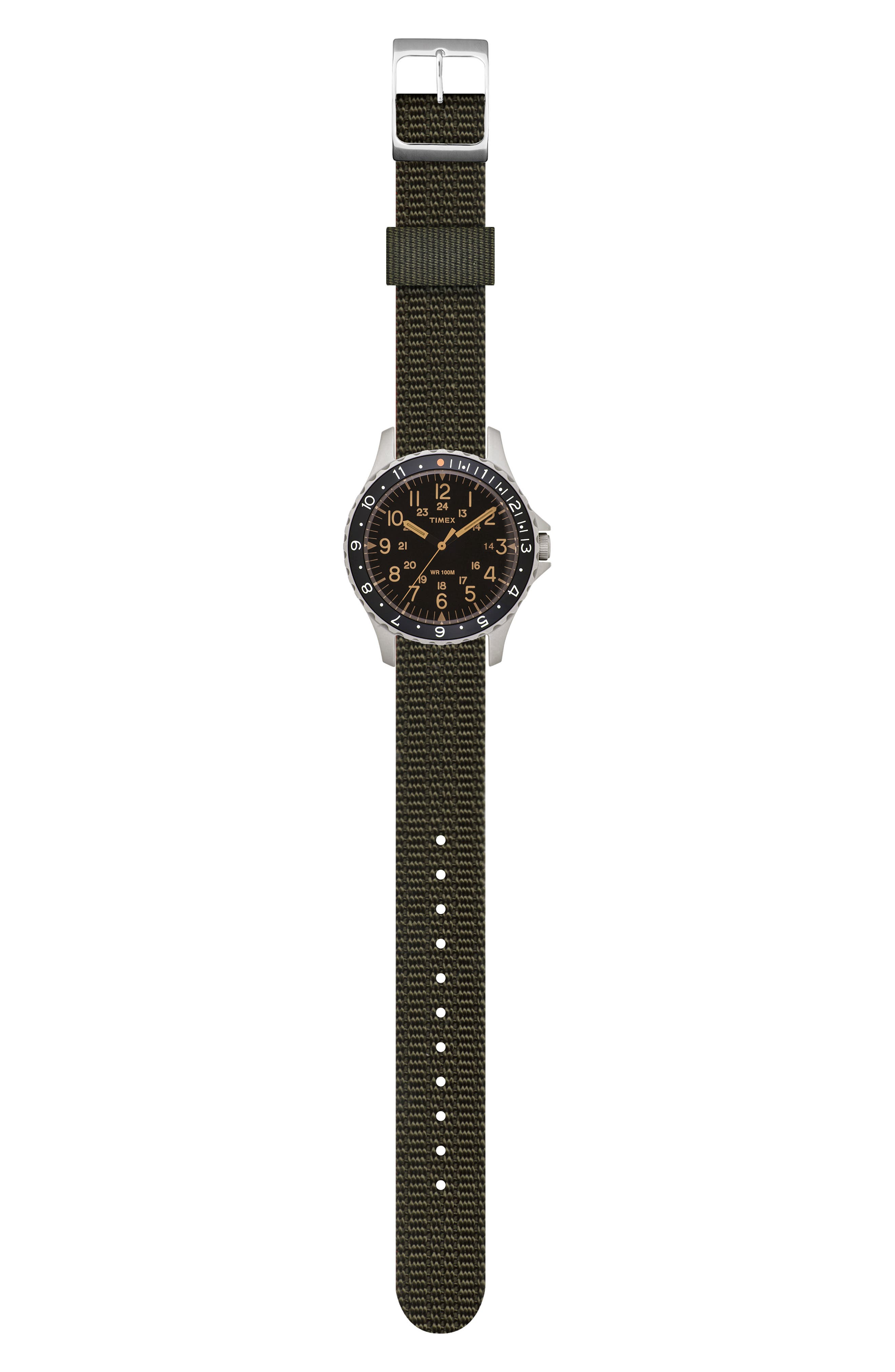 TIMEX<SUP>®</SUP> ARCHIVE, Navi Ocean Reversible NATO Strap Watch, 38mm, Alternate thumbnail 3, color, BLACK/ ORANGE/ WHITE