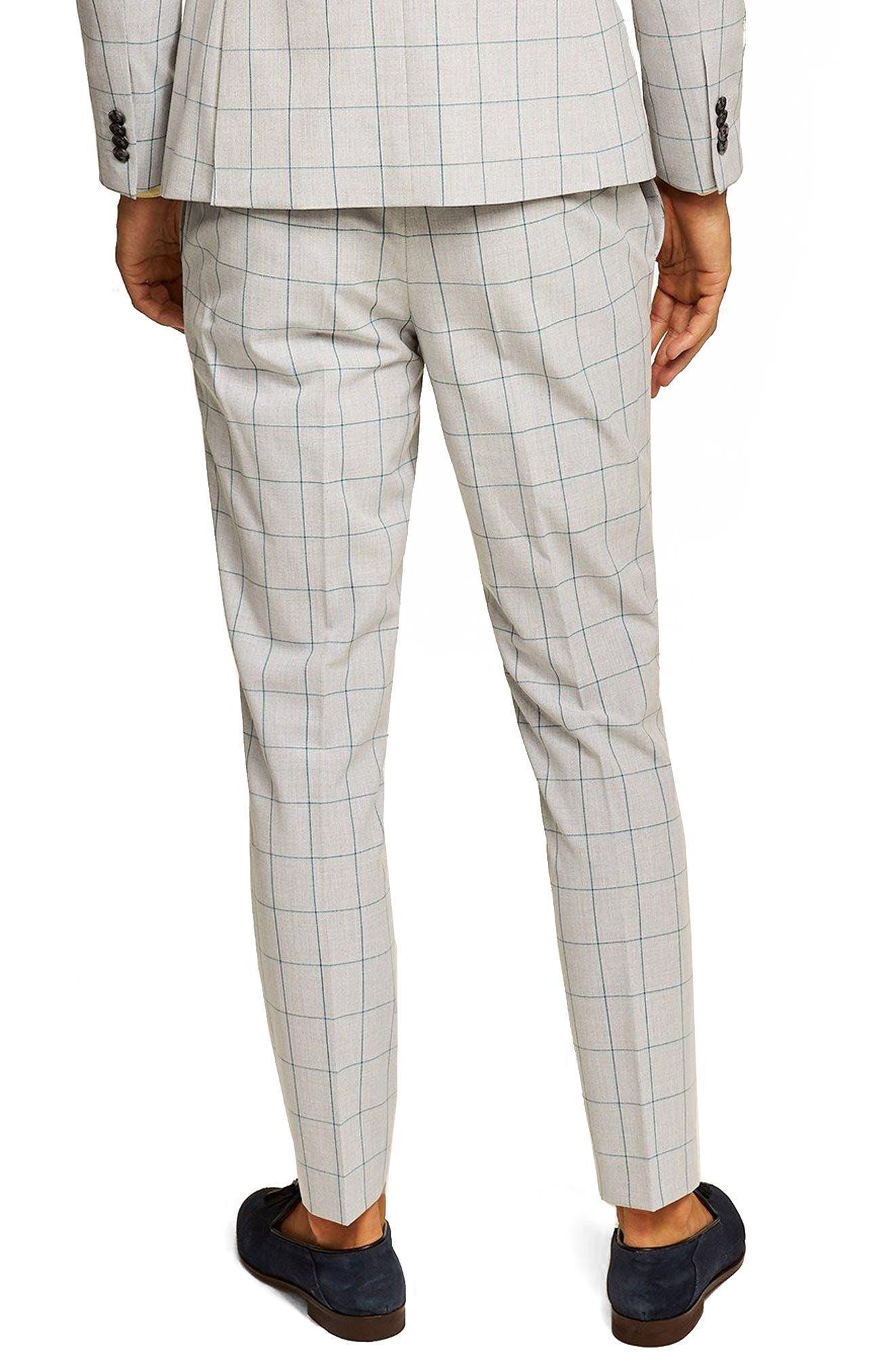 TOPMAN, Muscle Fit Check Suit Trousers, Alternate thumbnail 2, color, 300