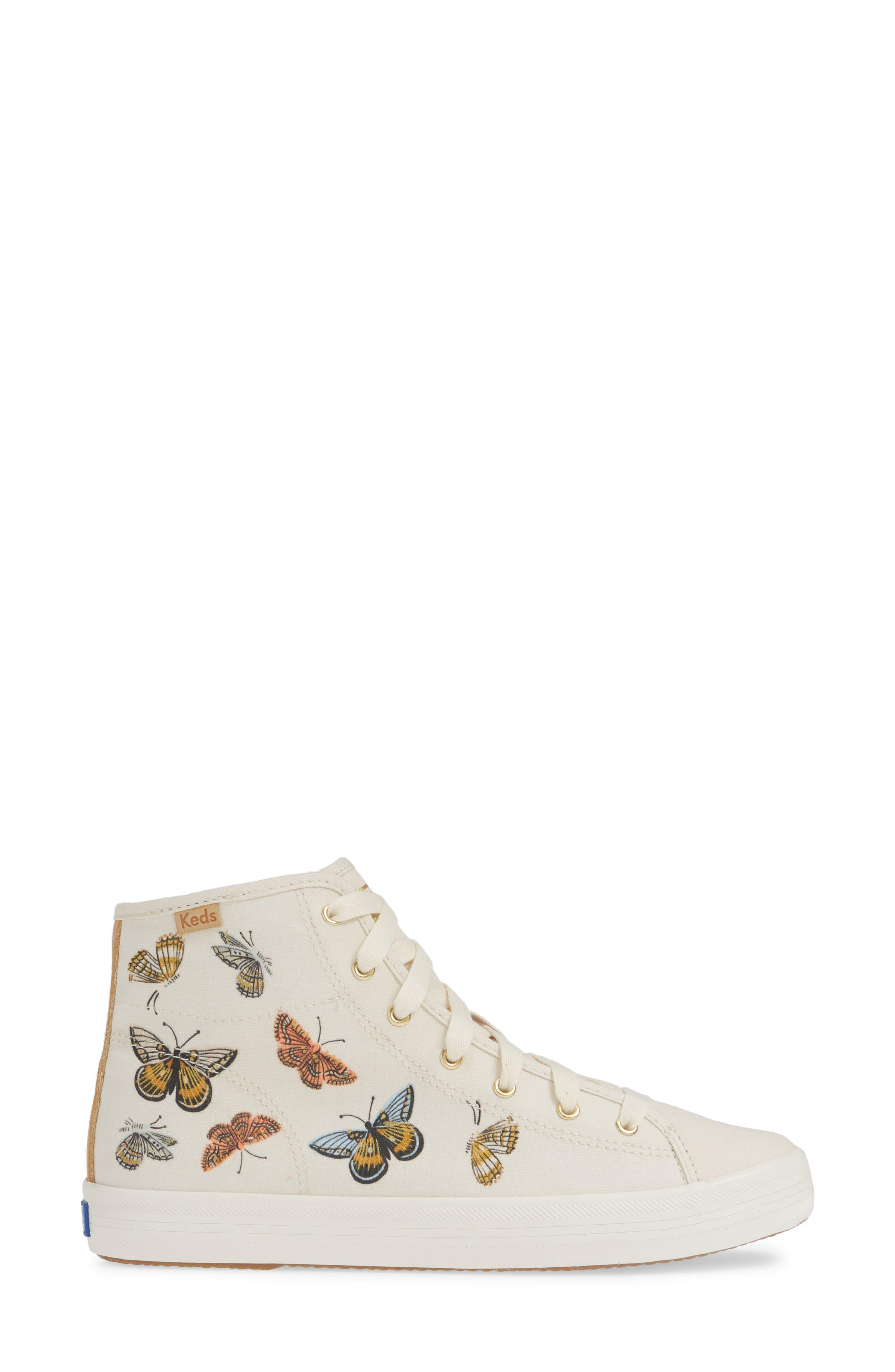 KEDS<SUP>®</SUP>, x Rifle Paper Co. Kickstart Butterfly Sneaker, Alternate thumbnail 3, color, CREAM