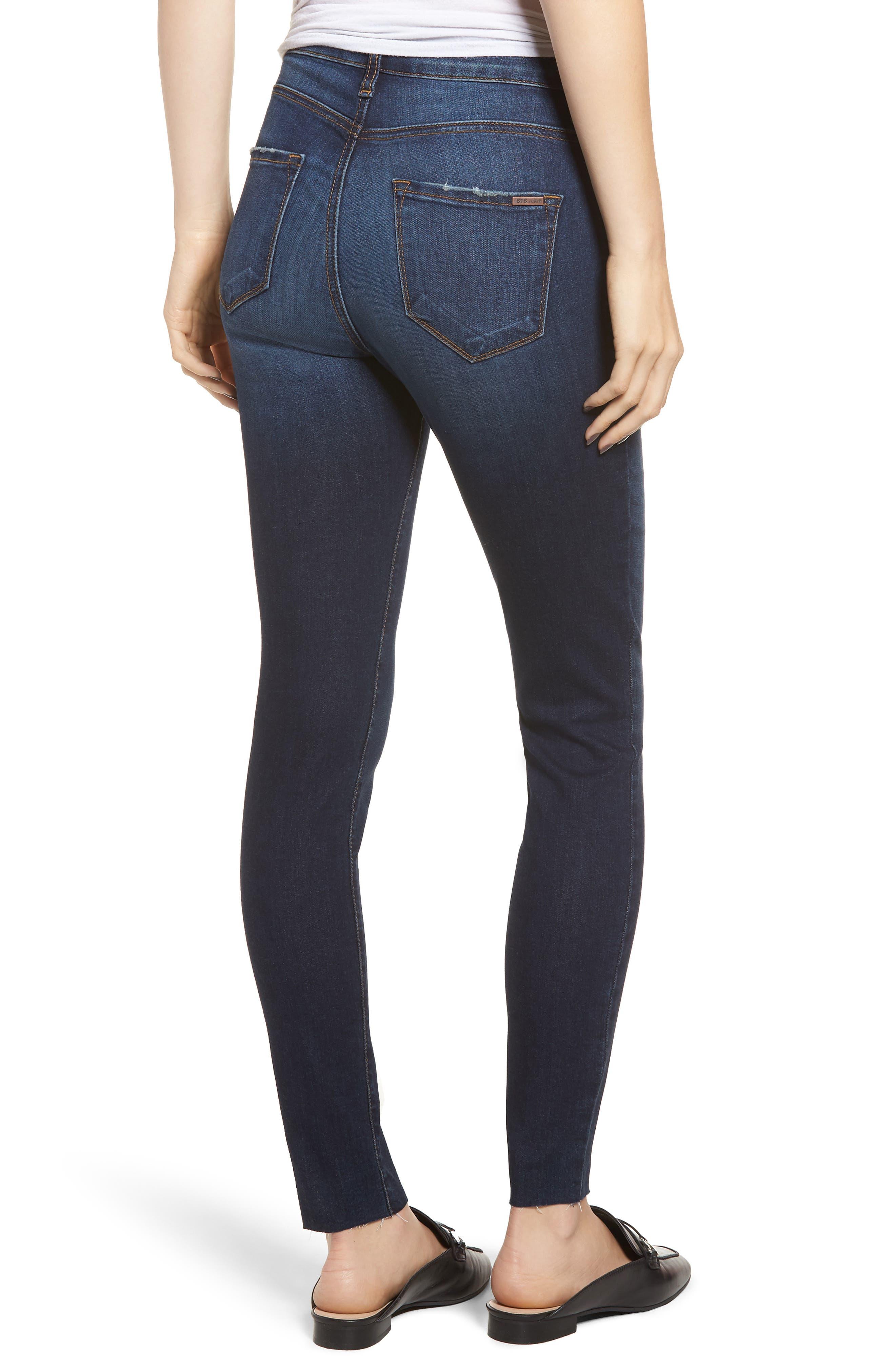 STS BLUE, Ellie High Waist Ankle Skinny Jeans, Alternate thumbnail 2, color, DENLEY