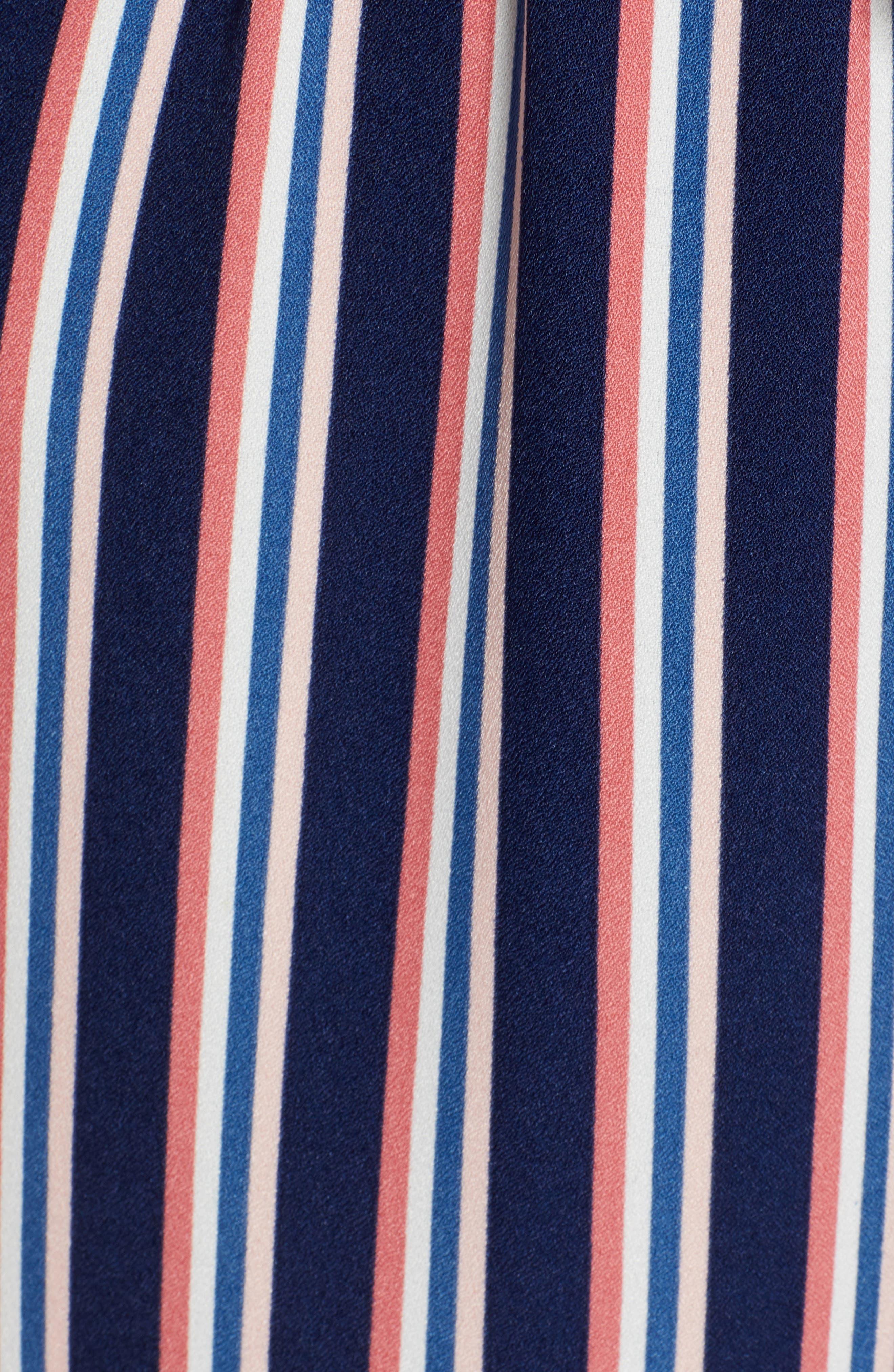 LEITH, Stripe Surplice Jumpsuit, Alternate thumbnail 6, color, NAVY PEACOAT FEM STRIPE