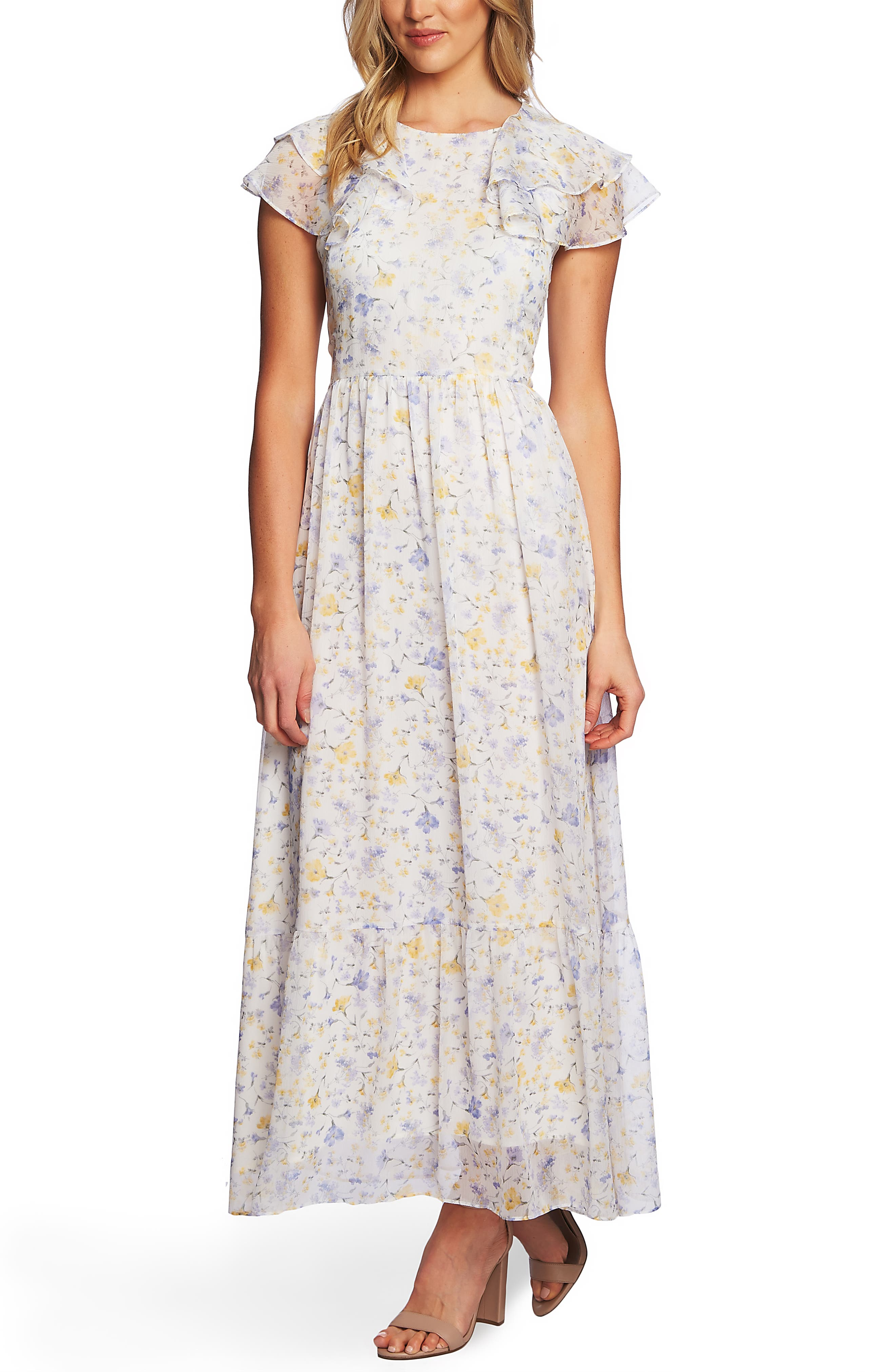 1930s Day Dresses, Tea Dresses, House Dresses Womens Cece Provence Floral Ruffle Hem Maxi Dress $149.00 AT vintagedancer.com