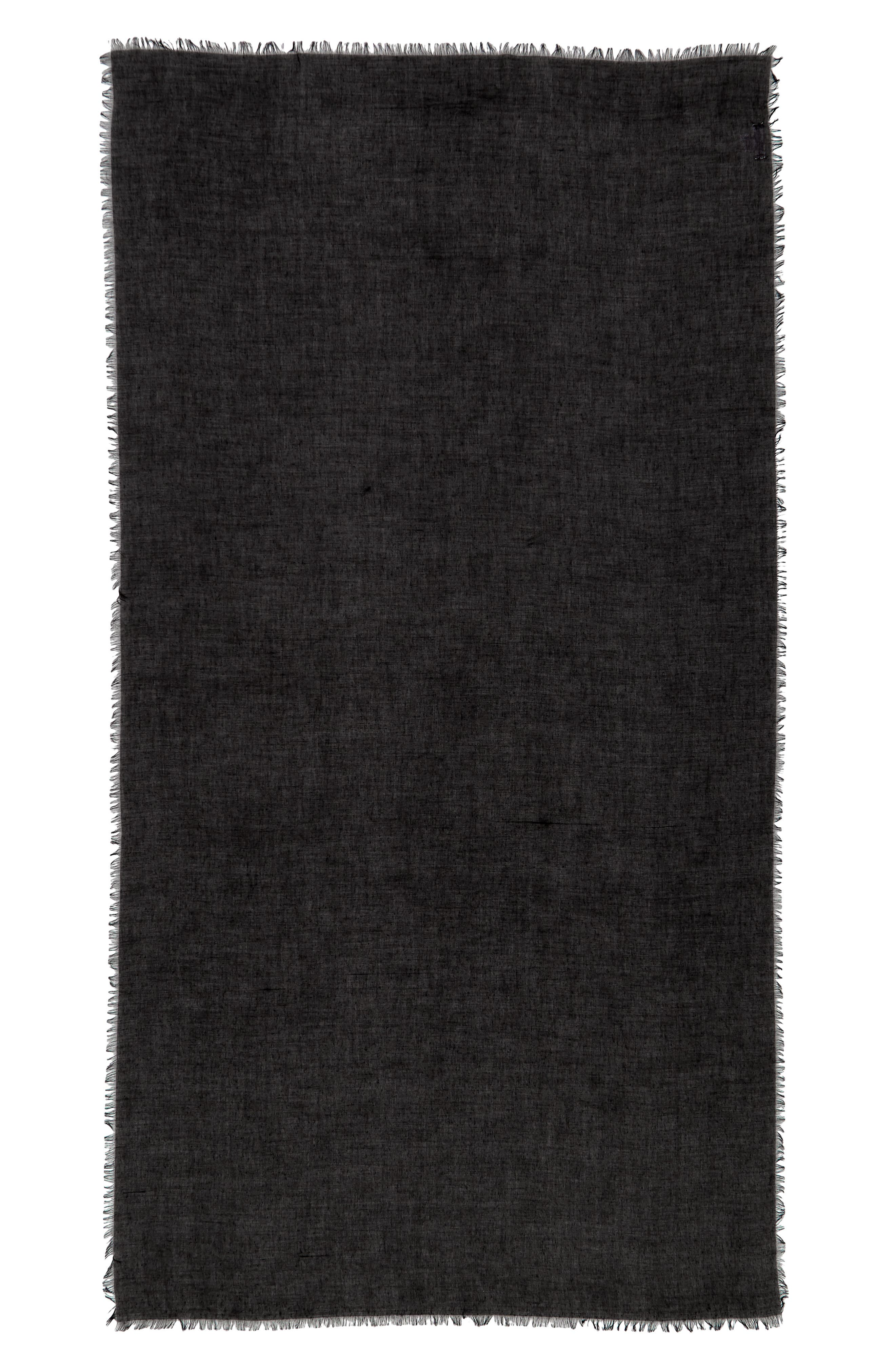SOLE SOCIETY, Lightweight Cotton Scarf, Alternate thumbnail 2, color, BLACK